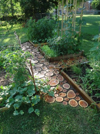 Stone Garden Path Ideas use free form stones Left Over Logs Can Create A Visually Stunning Garden Path
