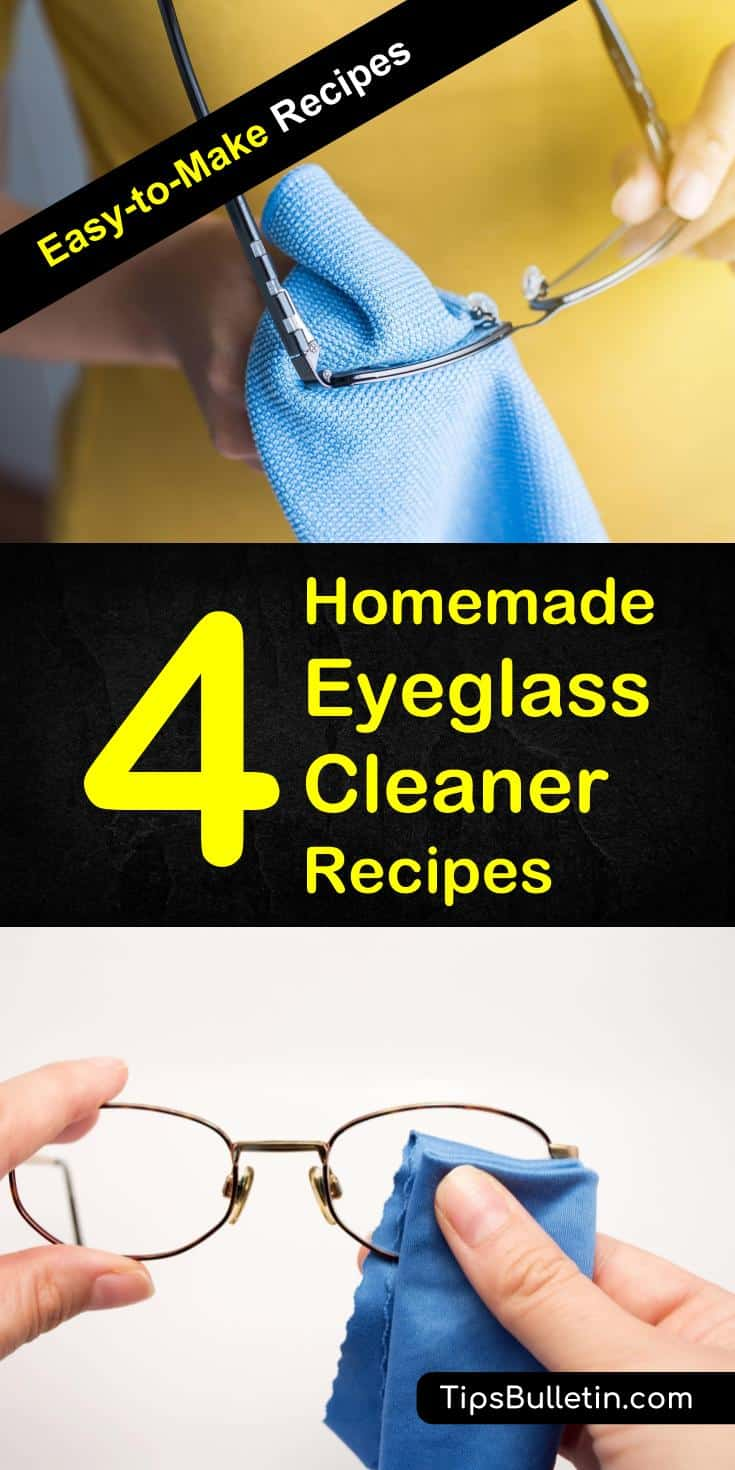 Clean your glasses with these easy to make homemade eyeglass cleaner recipes. Using simple ingredients like alcohol, dish soap or vinegar will make your eye glasses clean in seconds. Includes recipe for anti-fog cleaning solution. #eyeglass #glasses #cleaning #cleaner #diy