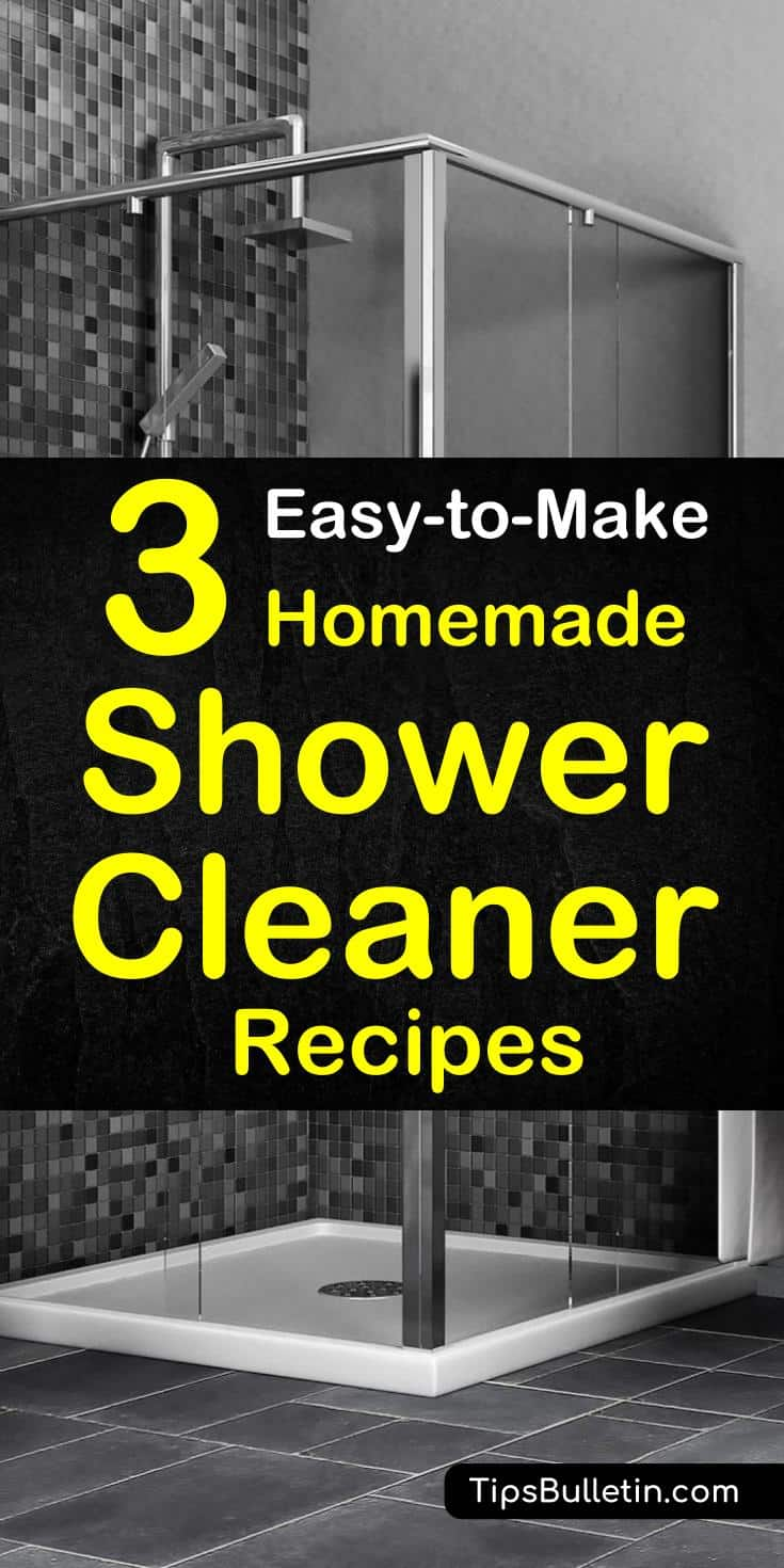 Find out how to best clean your shower with these easy-to-make homemade shower cleaner recipes. Includes DIY cleaning recipes containing natural ingredients like baking soda, vinegar, hydrogen peroxide and rubbing alcohol. Perfect to remove stain, soap scum and even mold.#cleaner #shower #homemade