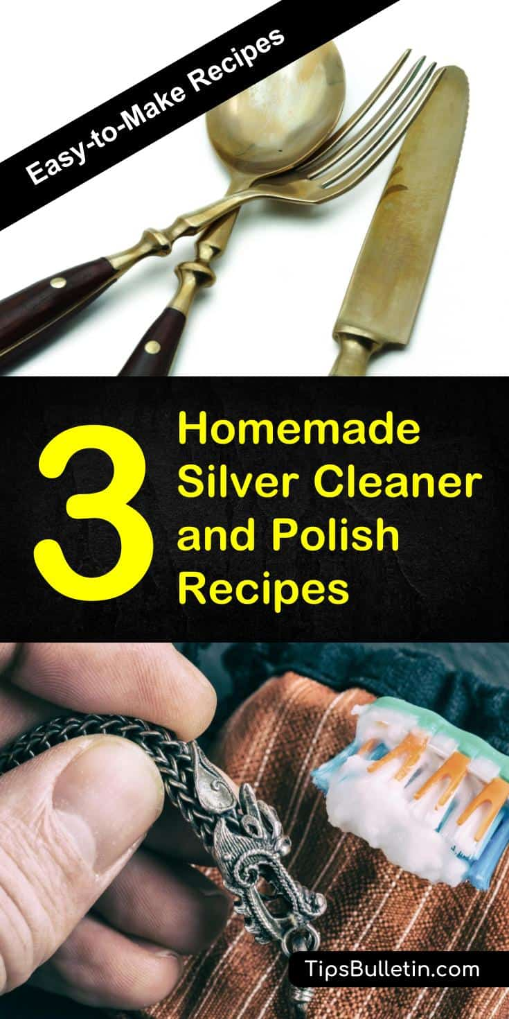 Clean and polish your silver with 3 homemade silver cleaner and polish recipes. Using natural products such as baking soda, cornstarch, cream of tartar or lemon juice, these different DIY recipes will make your jewelry shine again.#silvercleaning #homemade #silver #cleaner