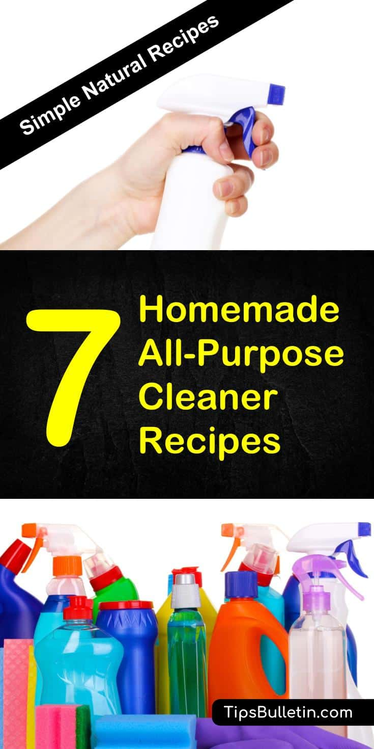 Discover 7 of the best homemade all-purpose cleaner recipes ranging from disinfectant, deodorizer, heavy duty to abrasive. All cleaning recipes are based on natural ingredients such as vinegar, baking soda, tea tree oil, hydrogen peroxide, castile soap or essential oils.#diy #homemade #cleaner #home