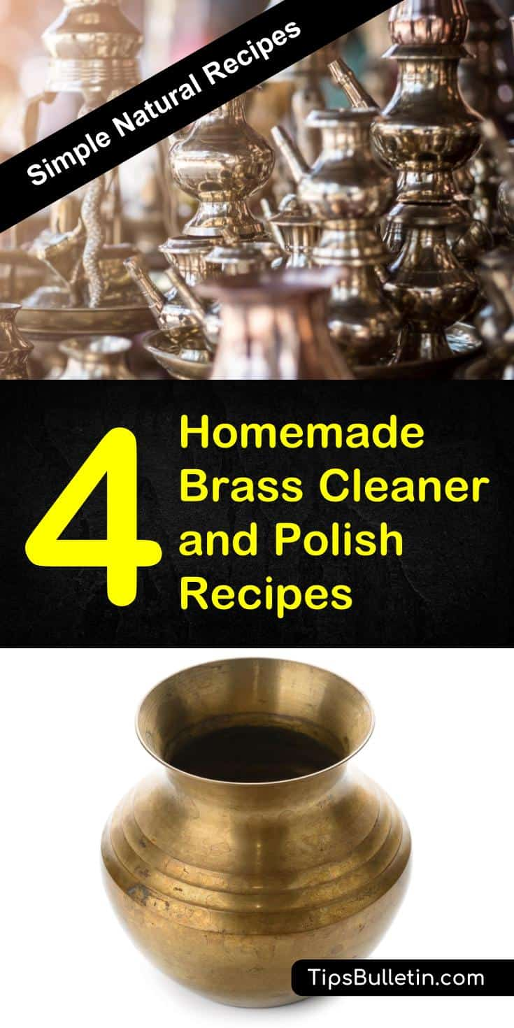 Learn how to clean and polish brass with 4 homemade brass cleaner and polish recipes. Made from natural ingredients like white vinegar, salt, lemon or baking soda, these cleaning solutions will show you how to make your brass shine again. #brass #brasscleaning #polish #diy #homemade