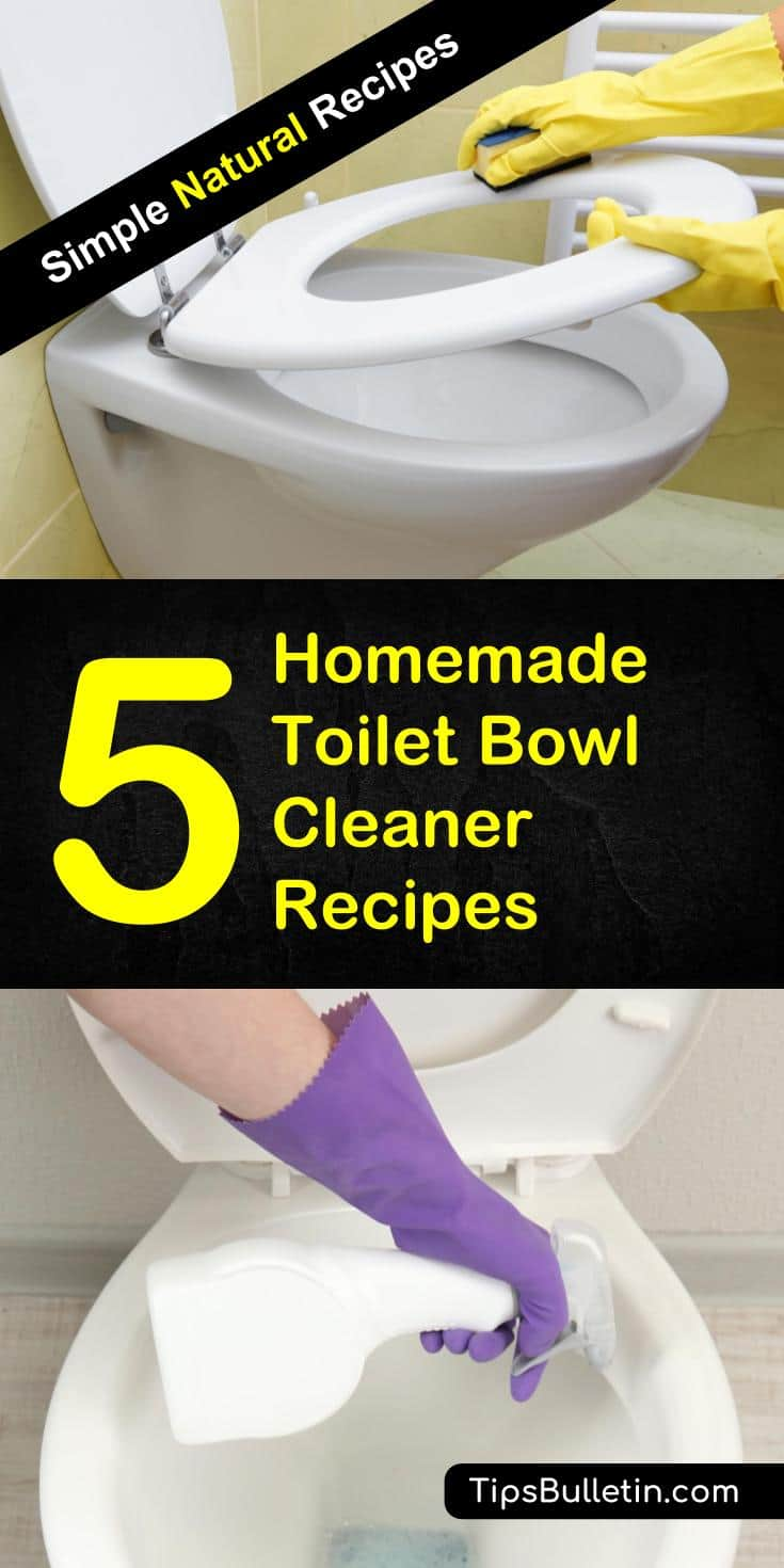 Clean your toilet all natural with these 5 homemade toilet bowl cleaner recipes. Covering cleaning tips and recipes with baking soda, vinegar, tea tree essential oil, borax, Castille soap and citric acid. These DIY cleaner will disinfect your toilet naturally. #toilet #cleaner #cleaning #natural