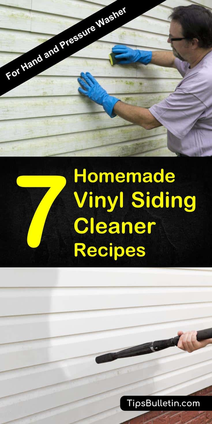 Find out how to best clean your vinyl siding with 7 homemade vinyl siding cleaner recipes. Suitable for hand and pressure washer usage these cleaning solutions work to remove dirt, grime and mold. Using DIY home ingredients like borax, baking soda or vinegar. #vinylsiding #clean #siding #vinyl