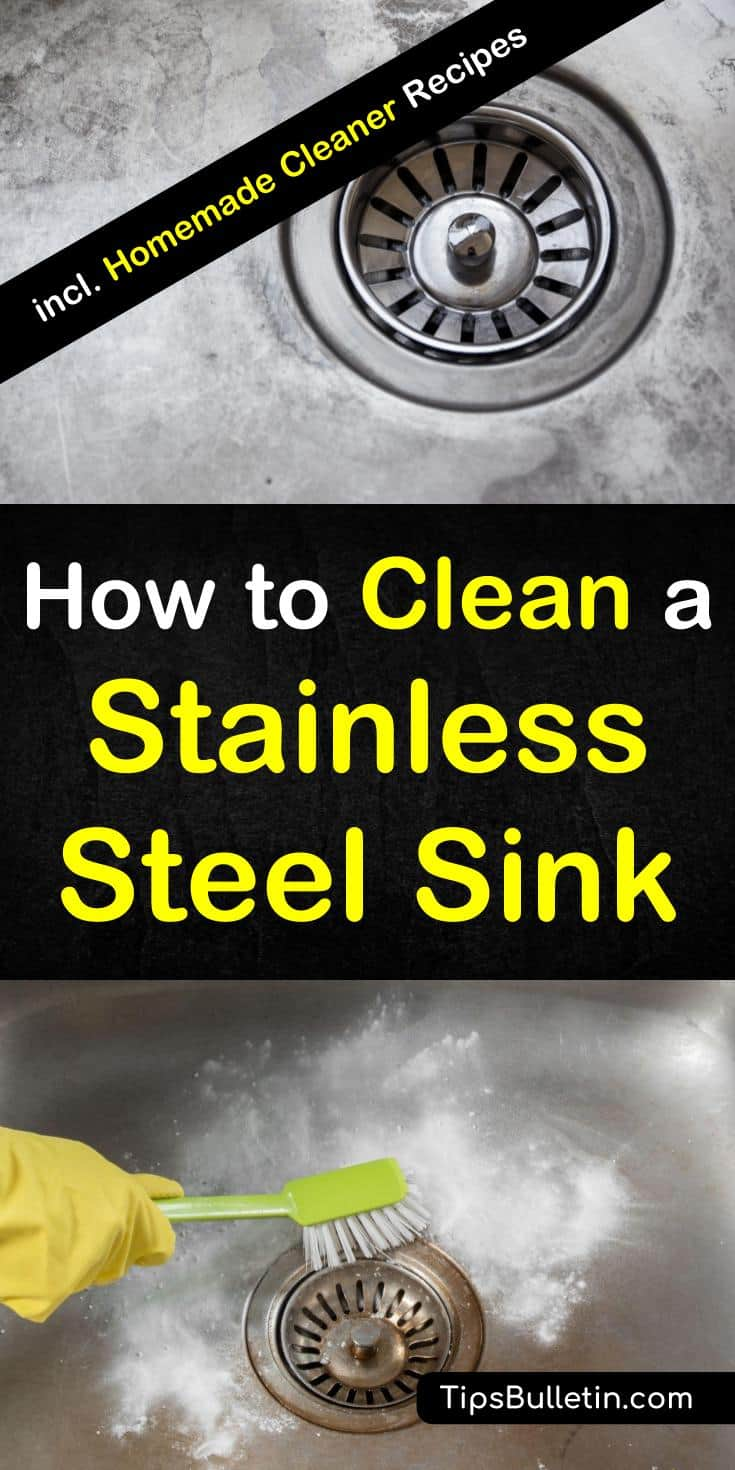 Learn how to clean a stainless steel sink. Learn how to make 3 homemade steel cleaner recipes using baking soda, white vinegar, and olive oils. These simple DIY recipes will work to remove stains from all your home's stainless steel surfaces. #cleanstainlesssteel #stainlesssteel #DIYcleaner