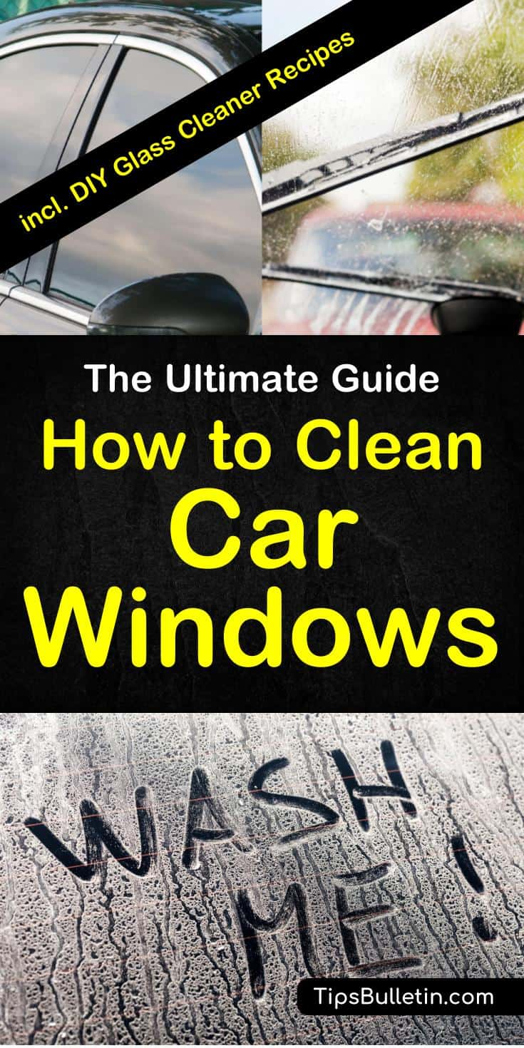 How to clean car windows - With easy to make homemade glass cleaner recipes with rubbing alcohol, vinegar and baking soda. Shows the best ways to clean your vehicles windows without streaks. Includes various recipes for DIY homemade car glass cleaner. #cleanglass #carcleaning #car