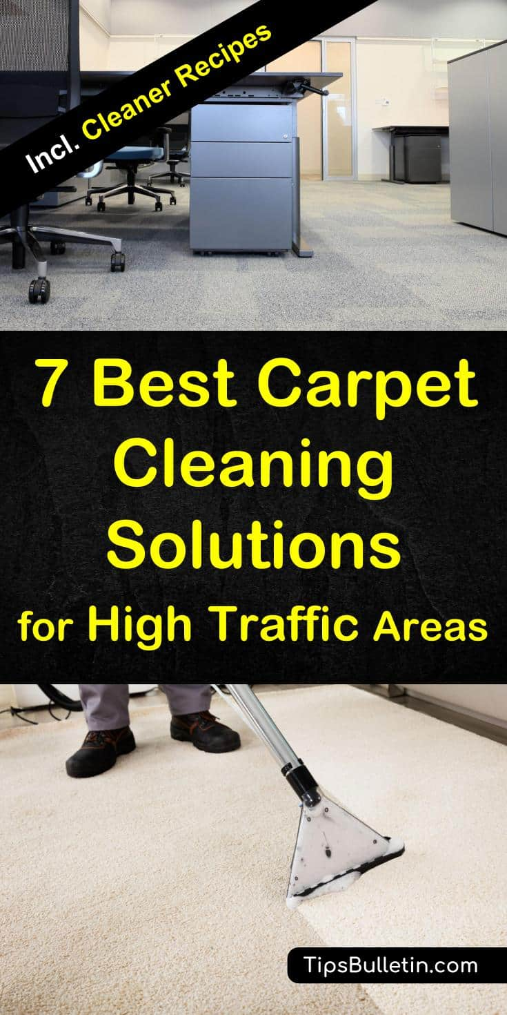 The 7 best carpet cleaning solutions for large high traffic areas such as hallways, office or commercial floors. Includes recipes for homemade carpet spot remover and DIY cleaning solutions for carpet cleaning machines such as Bissel or Kirby. #carpetcleaningcommercial #traffic #officecleaning