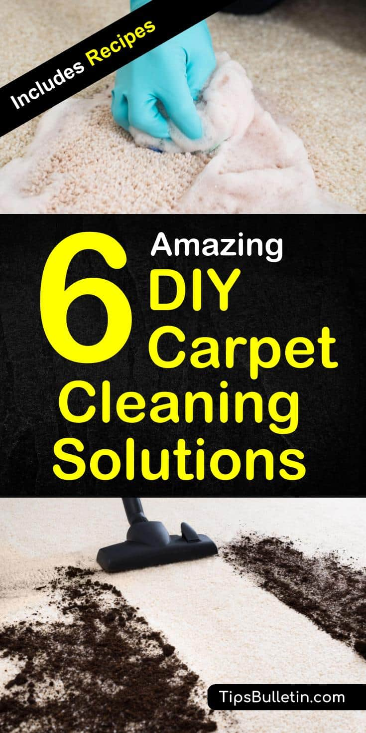 Simple recipes for the best homemade carpet cleaning solution. Including a homemade carpet cleaner machine solution for your Bissel, Rug Doctor, Kirby or even your steam cleaner. With detailed recipes using vinegar, peroxide, and Oxyclean to remove stains and even pet urine.#carpetcleaning #solution