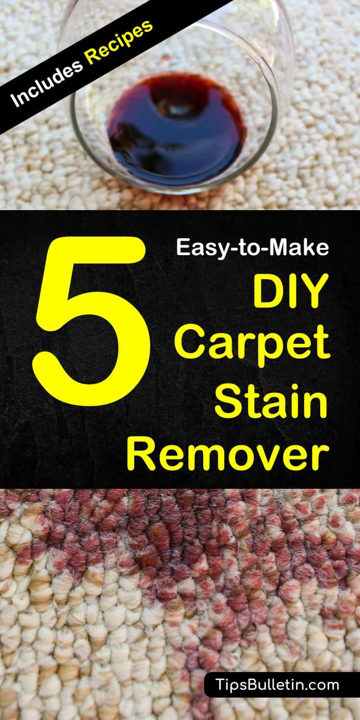 Easy-to-make recipes for 5 homemade carpet stain remover, cleaner and deodorizer. Includes hands-on instructions and tips on how to DIY clean spots and a large area of stains of coffee, red wine, paint, grease to a tough dog and pet urine.#stains #diy #carpetcleaning #carpet #clean