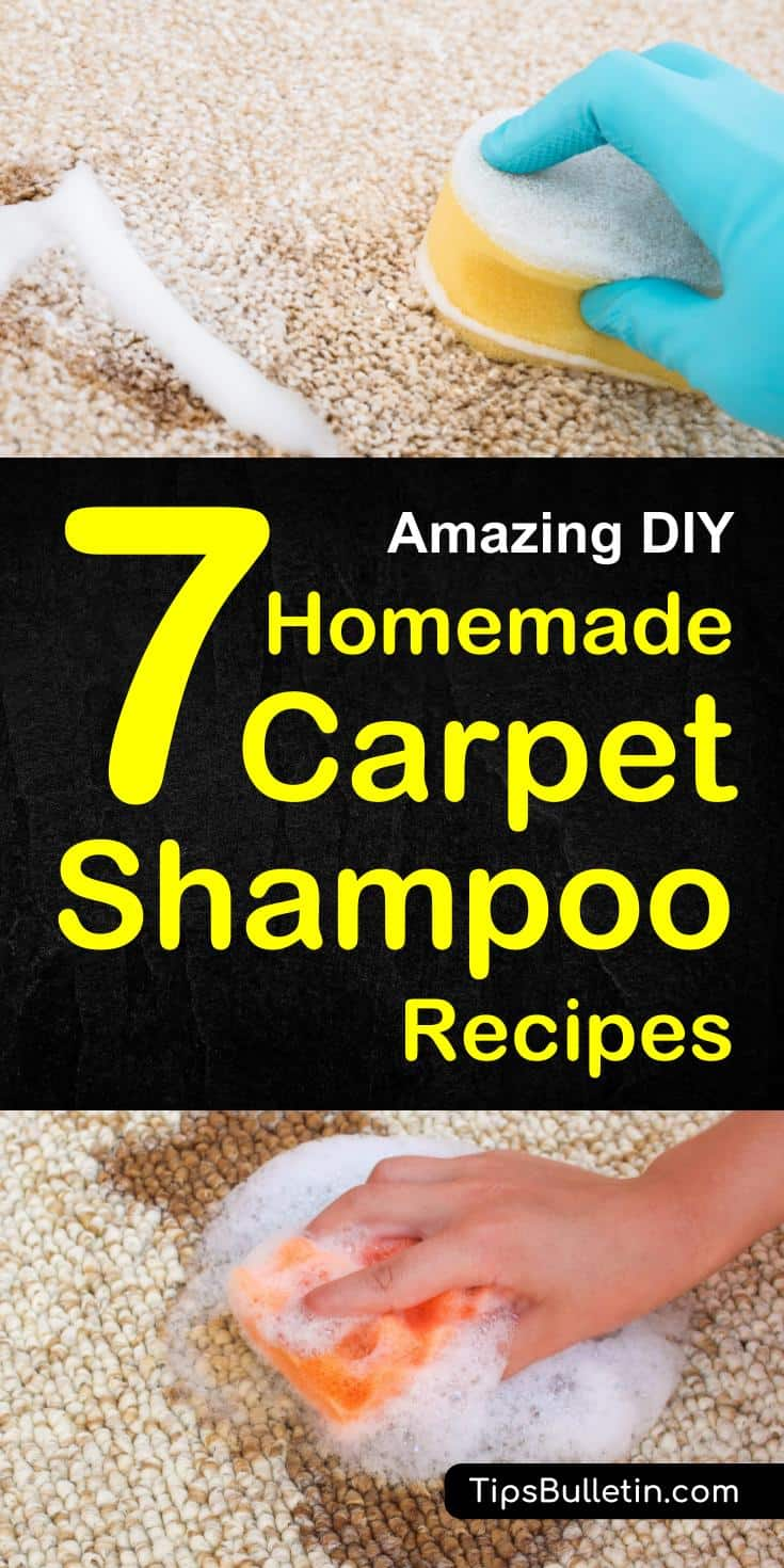 7 DIY Homemade Carpet Shampoo Recipes - including DIY recipes of natural carpet cleaner for light-colored, carpet cleaning machine solution, a homemade citrus-enzyme cleaner, a pets stain odor remover spray and hydrogen peroxide baking soda carpet soak.#carpetshampoo #cleaner #homemade