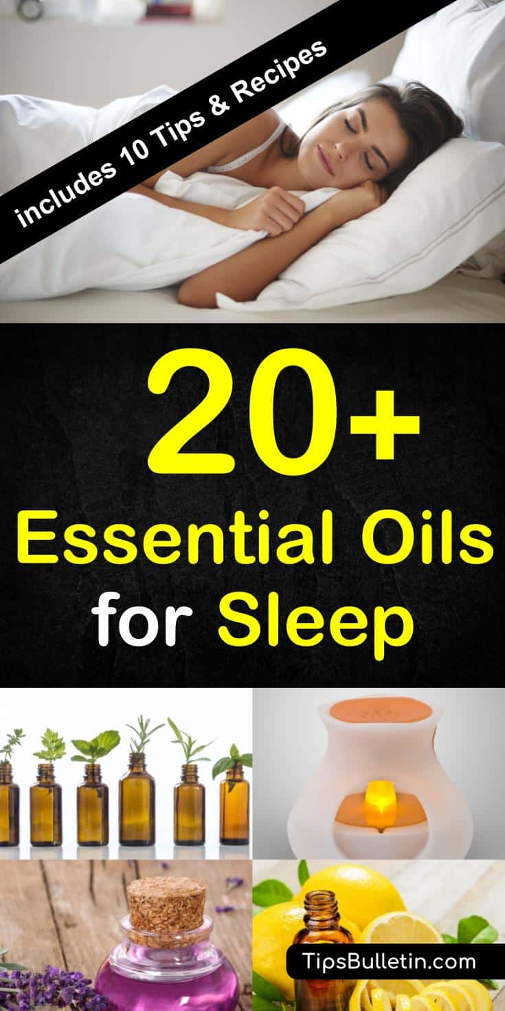20+ Essential oils for aleep. Including tips on which essential oil to use in case of insomnia, apnea to get a better sleep. The article lists multiple recipes to mix essential oils for a diffuser or spray bottle.#essentialoils #sleep