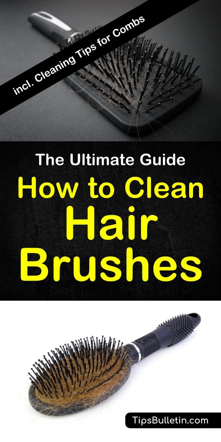 How to clean hair brushes - including detailed tips on cleaning a comb and a boar bristle brush. Using mostly home remedies like vinegar, dryer sheets, baking soda or hydrogen peroxide which are the best ways to clean your hair brushes from lice and hair. #hairbrush #cleaning #homeremedies