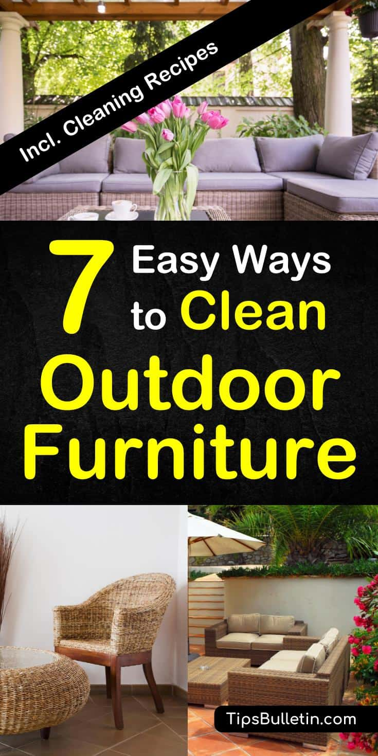 How to clean patio furniture - includes detailed tips and recipes for cleaning teak, wicker, rattan, wrought iron, cast iron and colored plastic patio furniture. Even shows you how to clean cushions, decks, chairs and other fabrics.#patio #clean #cleaner #recipe