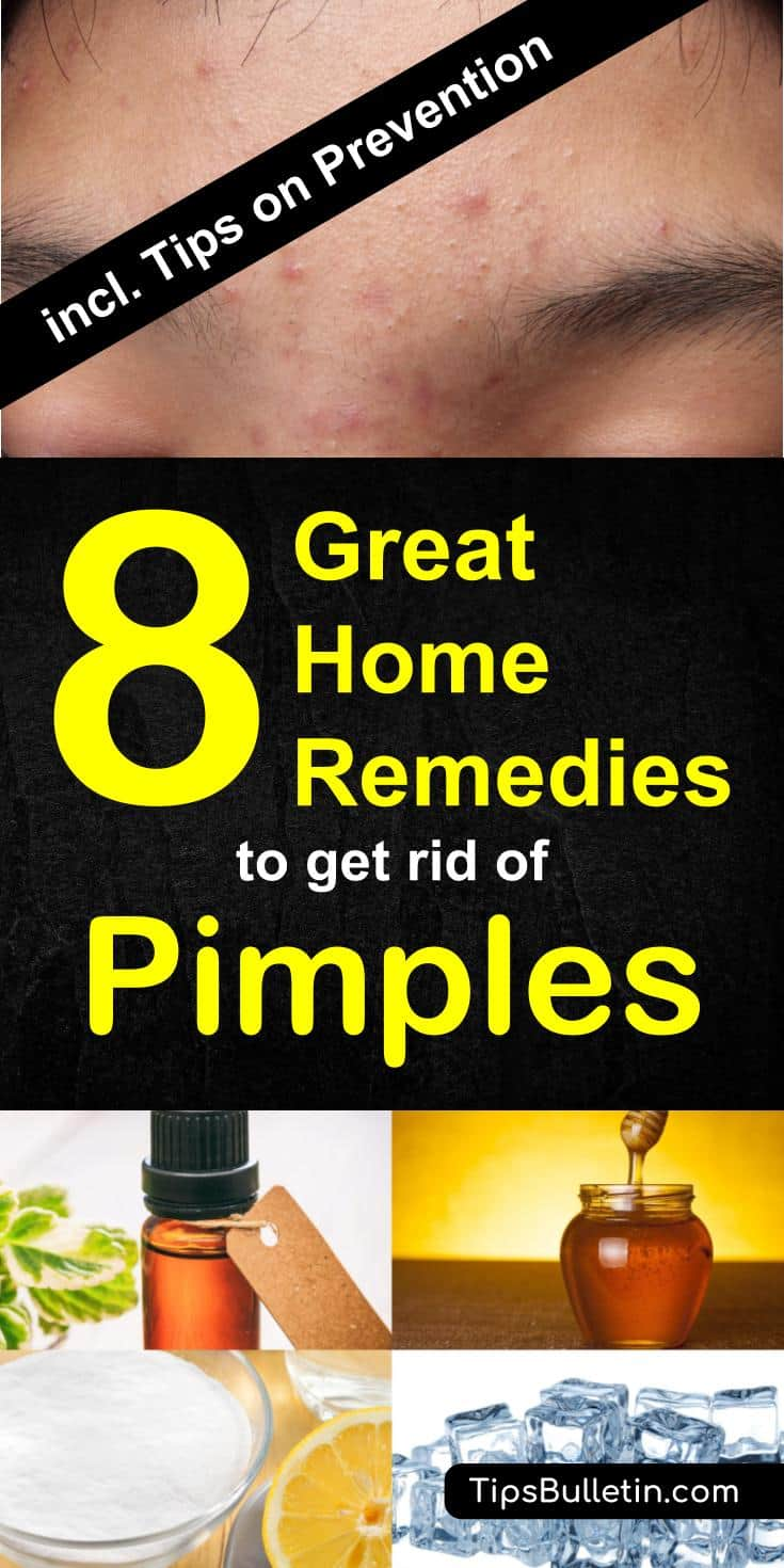 How to get rid of pimples with 8 excellent home remedies - including tips on different types of pimples from under the skin, deep to ingrown. Helps with prevention tips on acne and pimples.#pimples #getridof #skin