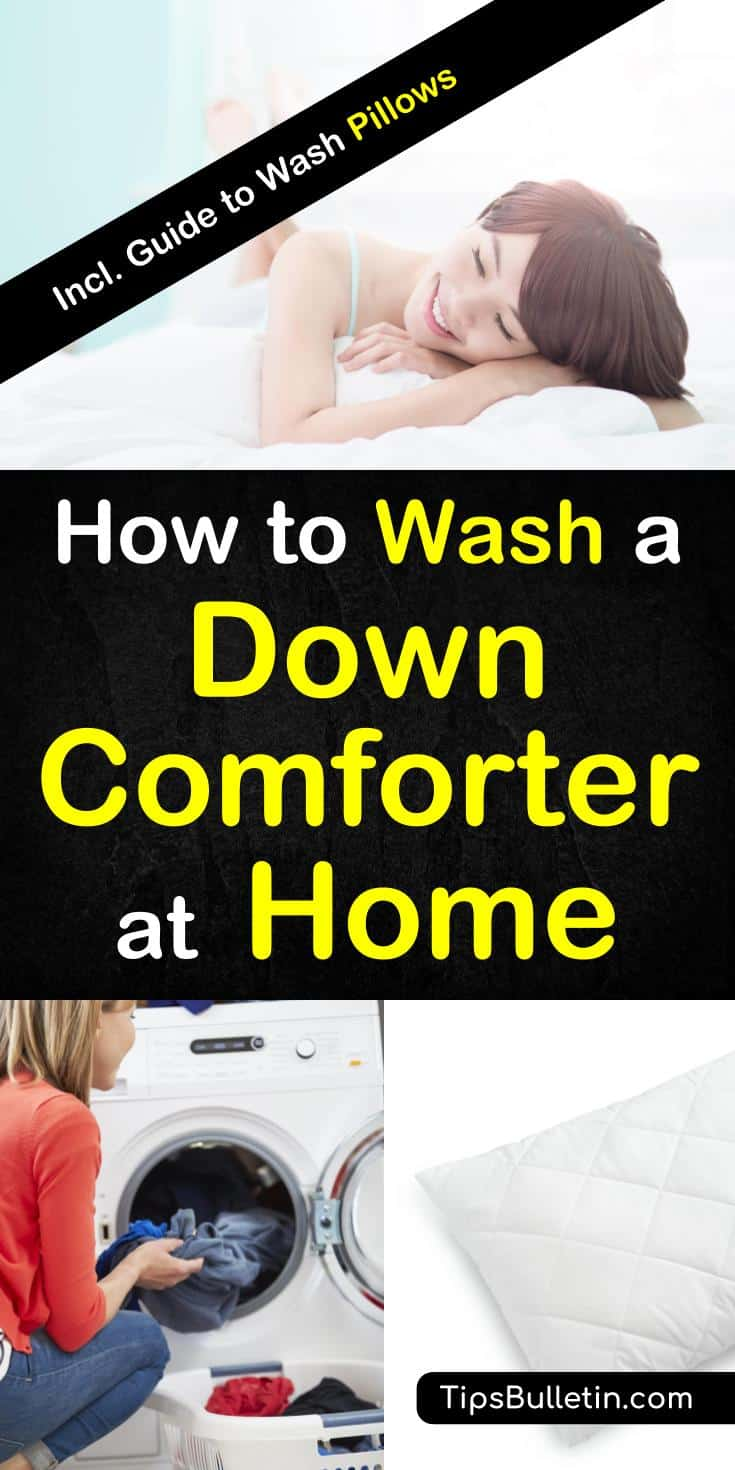 How to Wash a Down Comforter at Home, with detailed tips on cleaning products and a laundry detergent recipe to wash pillows and duvet.#laundry #comforter #pillow #clean