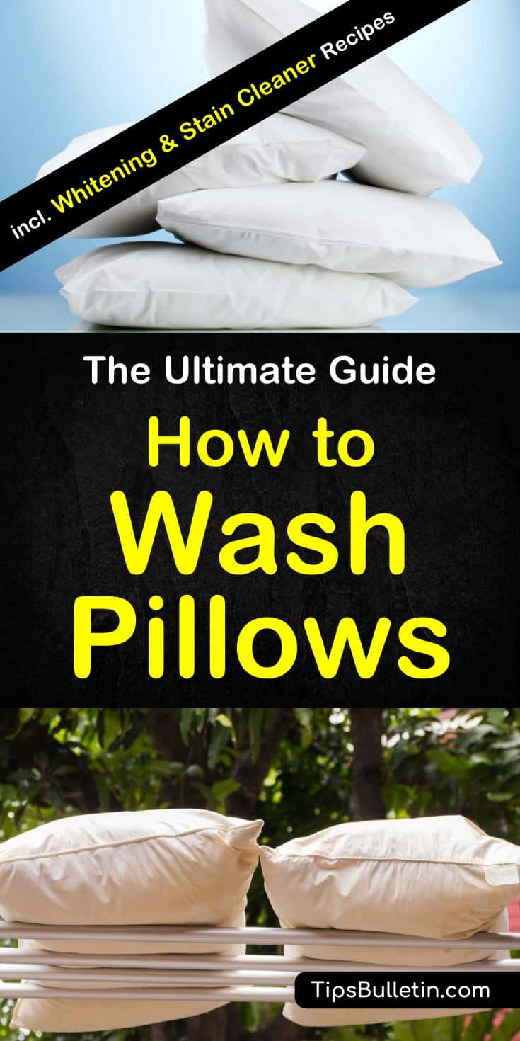 How to wash pillows - including tips on washing by hand and in the washing machine (front and top loader), whitening yellow pillows, cleaning those sweat stains pillows using baking soda, hydrogen peroxide, vinegar or bleach. Includes laundry recipes.#washpillows #laundry #pillow #bed