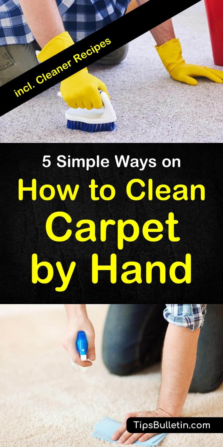 Find out how to best clean carpet by hand. Including homemade DIY carpet stain cleaner recipes with baking soda and vinegar. Shows how to remove stains from area rugs in living rooms by hand and what products best to use for it. #carpetcleaning #cleaner #carpet #DIY #homemade