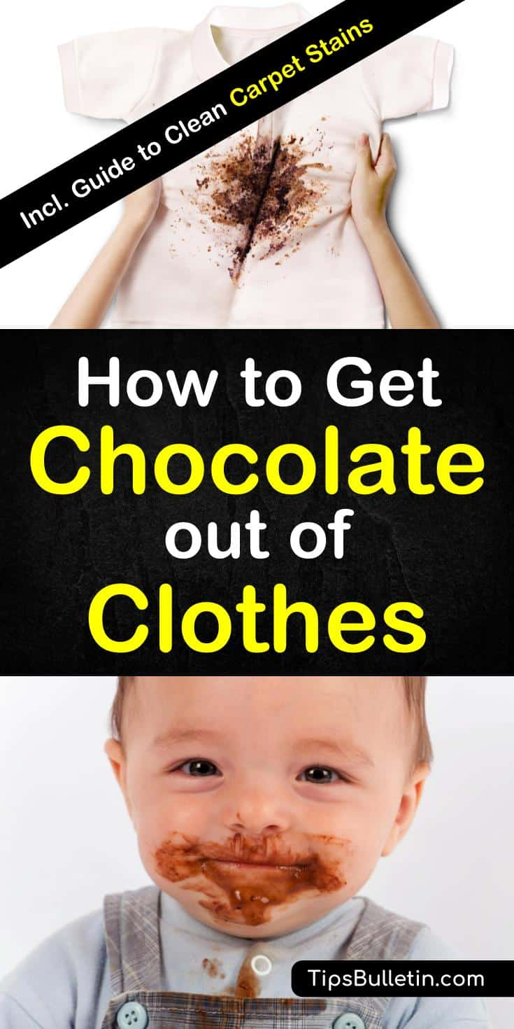 Find out how to get chocolate out of clothes, carpet and even upholstery. Covering best ways to remove chocolate and chocolate milk stains from delicate fabric using simple home remedies like vinegar, baking soda or table salt. #remove #stains #chocolate #chocolatemilk #cleaning #laundry