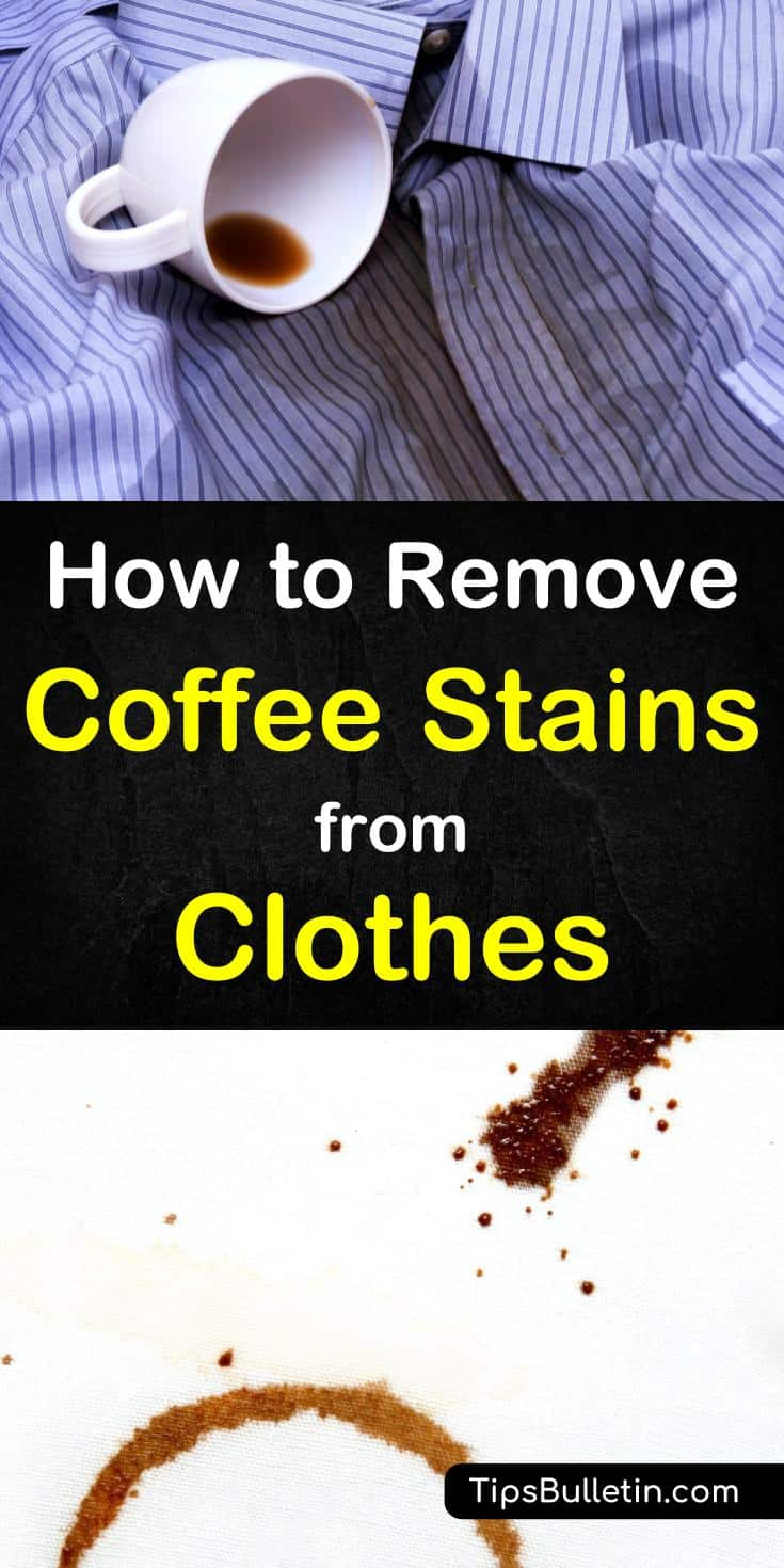 Roundup on how to remove coffee stains from clothes. Covering cleaning spots with home remedies like hydrogen peroxide, baking soda, cold water to even using egg yolk. Detailed hands-on stain cleaning tips for laundry. #coffeestains #coffee #stains #clothes #laundry