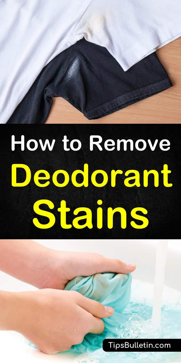 Discover how to remove deodorant stains from white and dark shirts, bras, or any other clothing. With detailed arm sweat stain cleaner recipes using lemon juice, baking soda, vinegar, hydrogen peroxide or rubbing alcohol. #deodorantstains #sweatstains #clean #laundry #stains