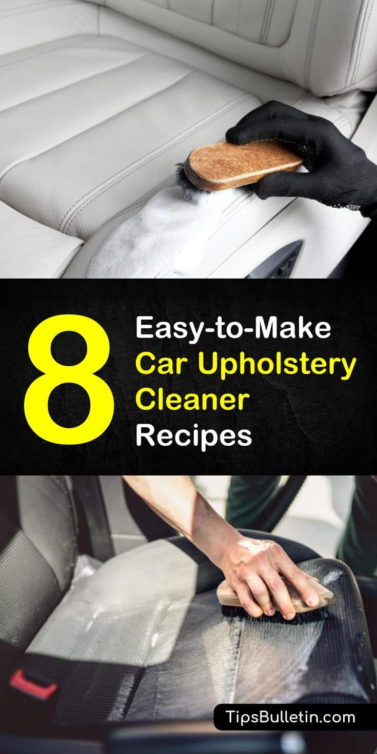 Find out how to clean car upholstery with these 8 amazing DIY car upholstery cleaner recipes. Make homemade cleaning solutions with everyday products like white vinegar and baking soda and remove stains from the interior of your vehicle. #diycleaners #upholsterycleaner #carcleaning #carupholstery