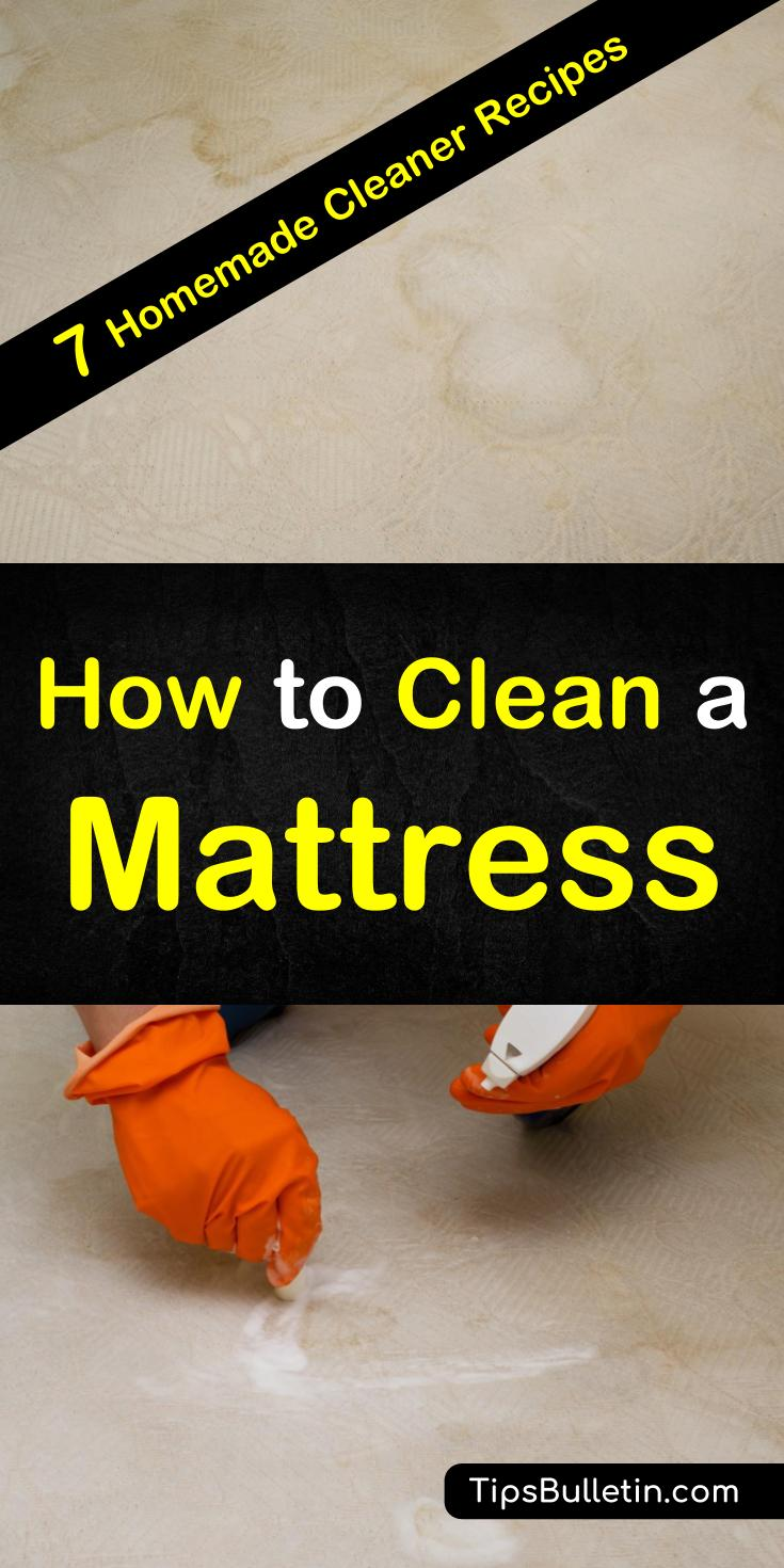 Discover how to clean a mattress with these 7 mattress cleaner tips and recipes. Quickly eliminate dust mites and mold with baking soda and get your mattress smelling fresh with essential oils. These tips and tricks will help you remove stains from pee, sweat, and vomit. #mattress #naturalcleaners