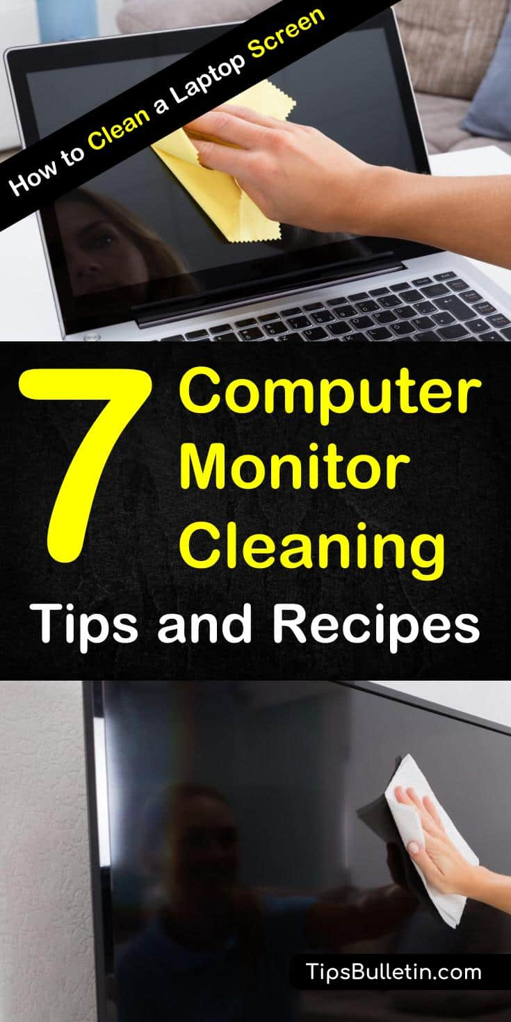 Learn how to clean a laptop screen with these 7 computer monitor cleaning tips and recipes. Clean and get rid of smudges and dirt with these DIY cleaning tips for the monitor on computers and phones with simple, everyday products. #laptopcleaning #laptop #pc #cleanmonitor #DIYcleaningrecipes
