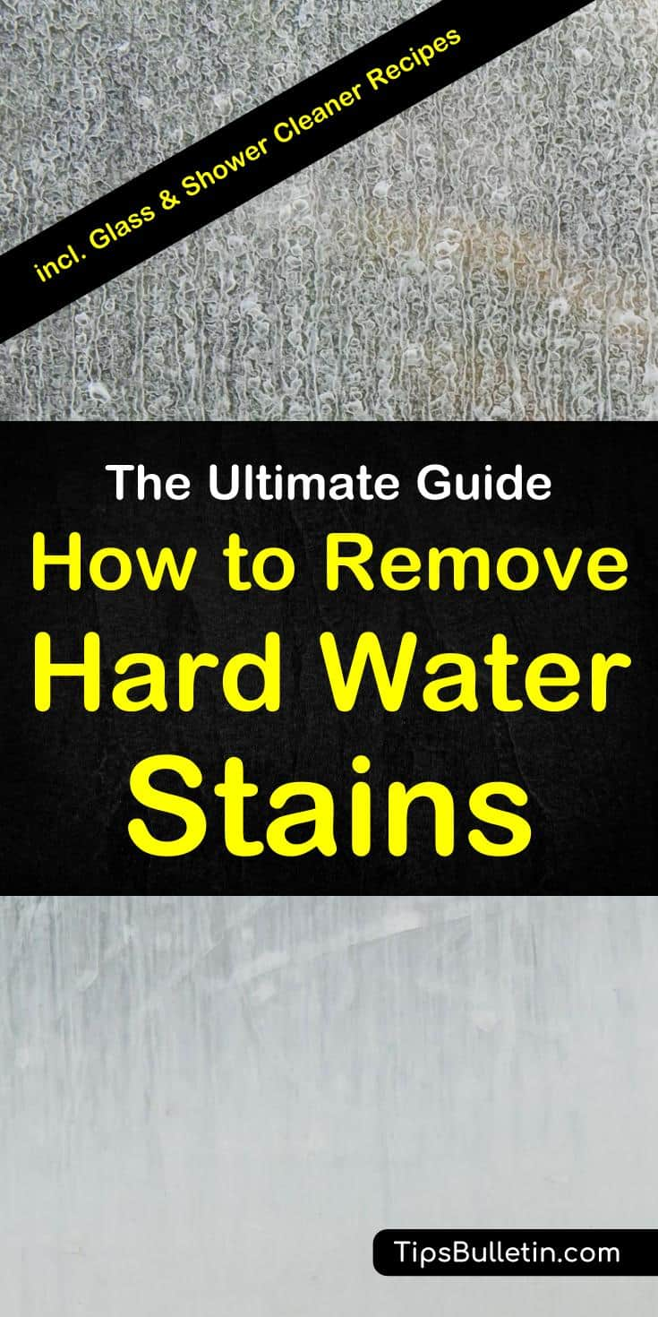 Cleaning tips on how to remove hard water stains from common household surfaces. Covering how to get rid of water stains from glass and windows, shower, toilet, tub, tile, sink, and faucets using natural homemade cleaner recipes based on vinegar, baking soda, lemon, and hydrogen peroxide. #waterstains