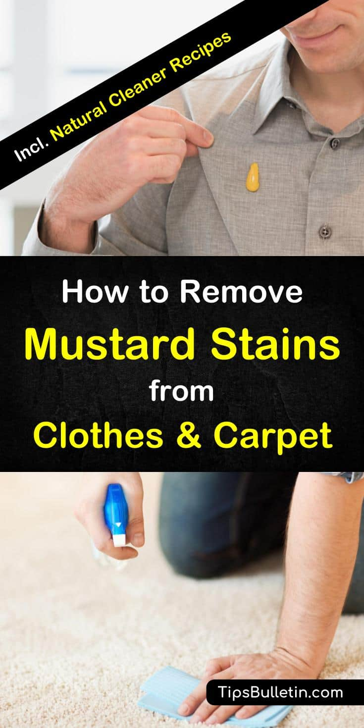 Learn how to remove mustard stains from clothes like shirts and jeans as well as carpets using natural home remedies you already have at home. Detailed recipes to get rid of mustard with rubbing alcohol, baking soda, and vinegar.#mustard #shirt #cleaning #stains #carpetcleaning