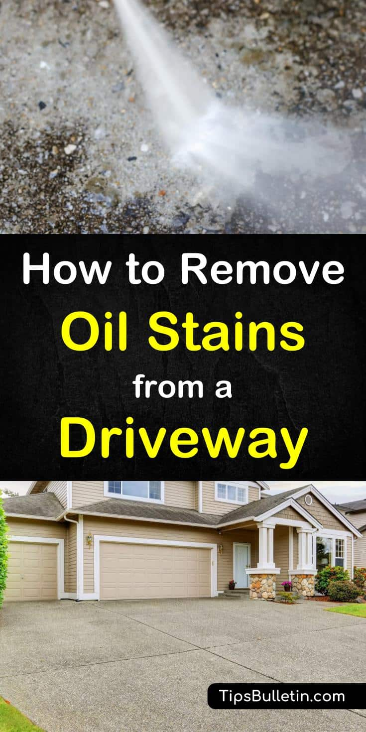Learn how to remove oil stains from your driveway with simple home remedies. Using baking soda, liquid soap and others you can clean the concrete driveway in no time. Includes cleaning recipes. #driveway #cleaning #stains #concrete