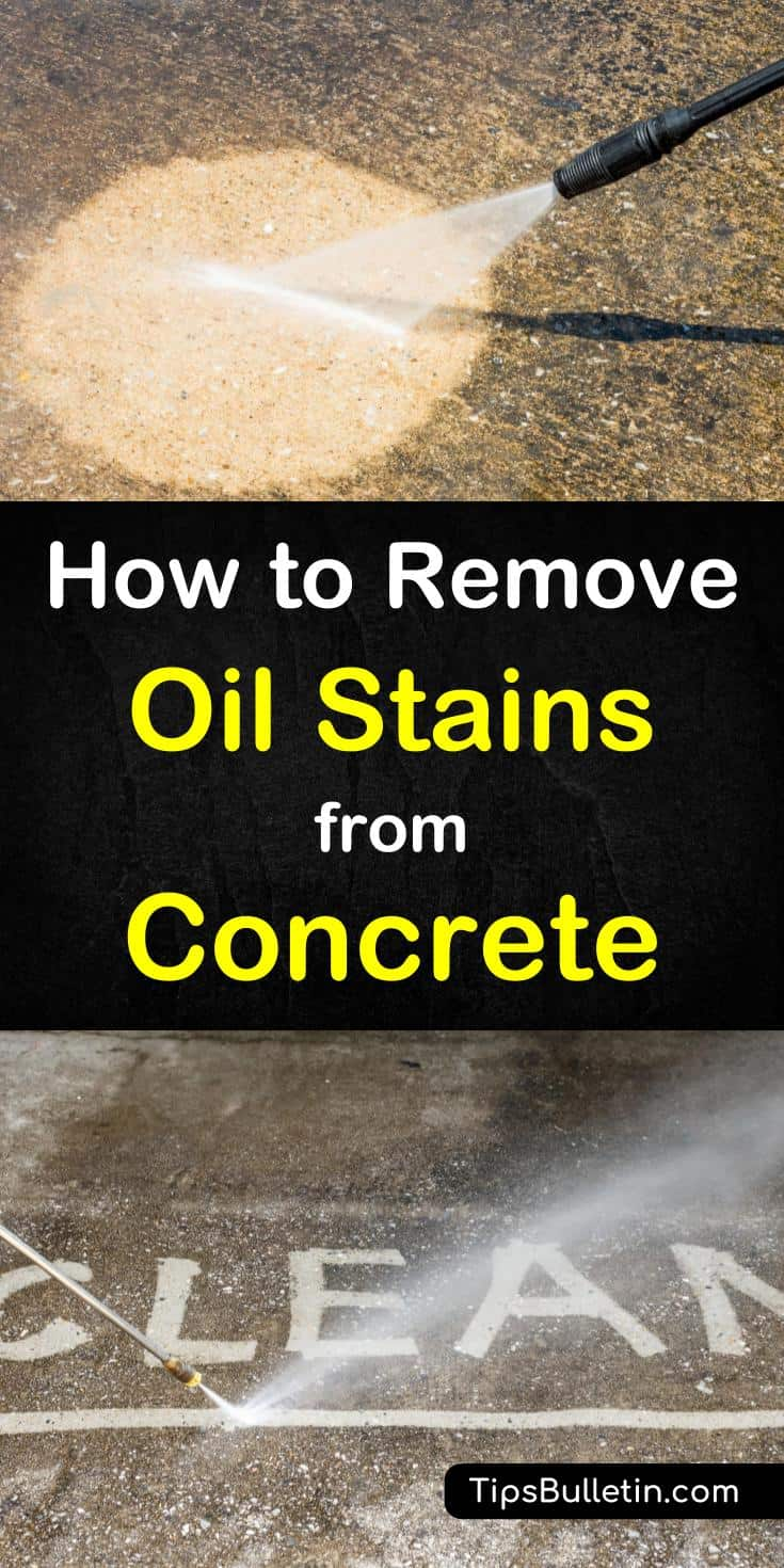 Hands-on tips on how to best remove oil stains from concrete. Includes detailed stain cleaner recipe for your concrete driveway or garage floor. Shows you how to get even old oil spots cleaned up easily.#concrete #stains #cleaning #driveway #garage