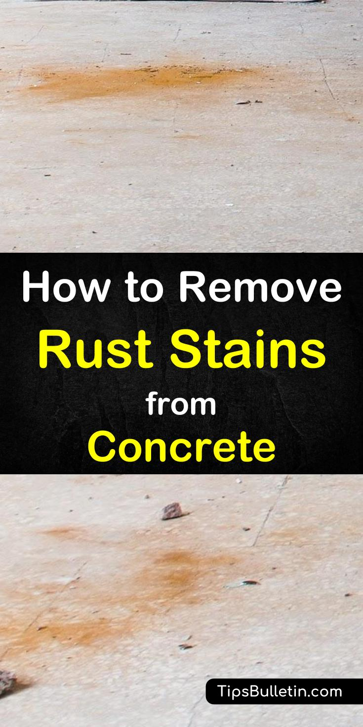 Find out how to get rust stains off concrete with simple cleaning recipes made from household items. Use lemon juice, white vinegar, and other ingredients and clean those rusty spots in your concrete driveway or garage floor. #rust #cleaning #rustconcrete #cleaning #stain