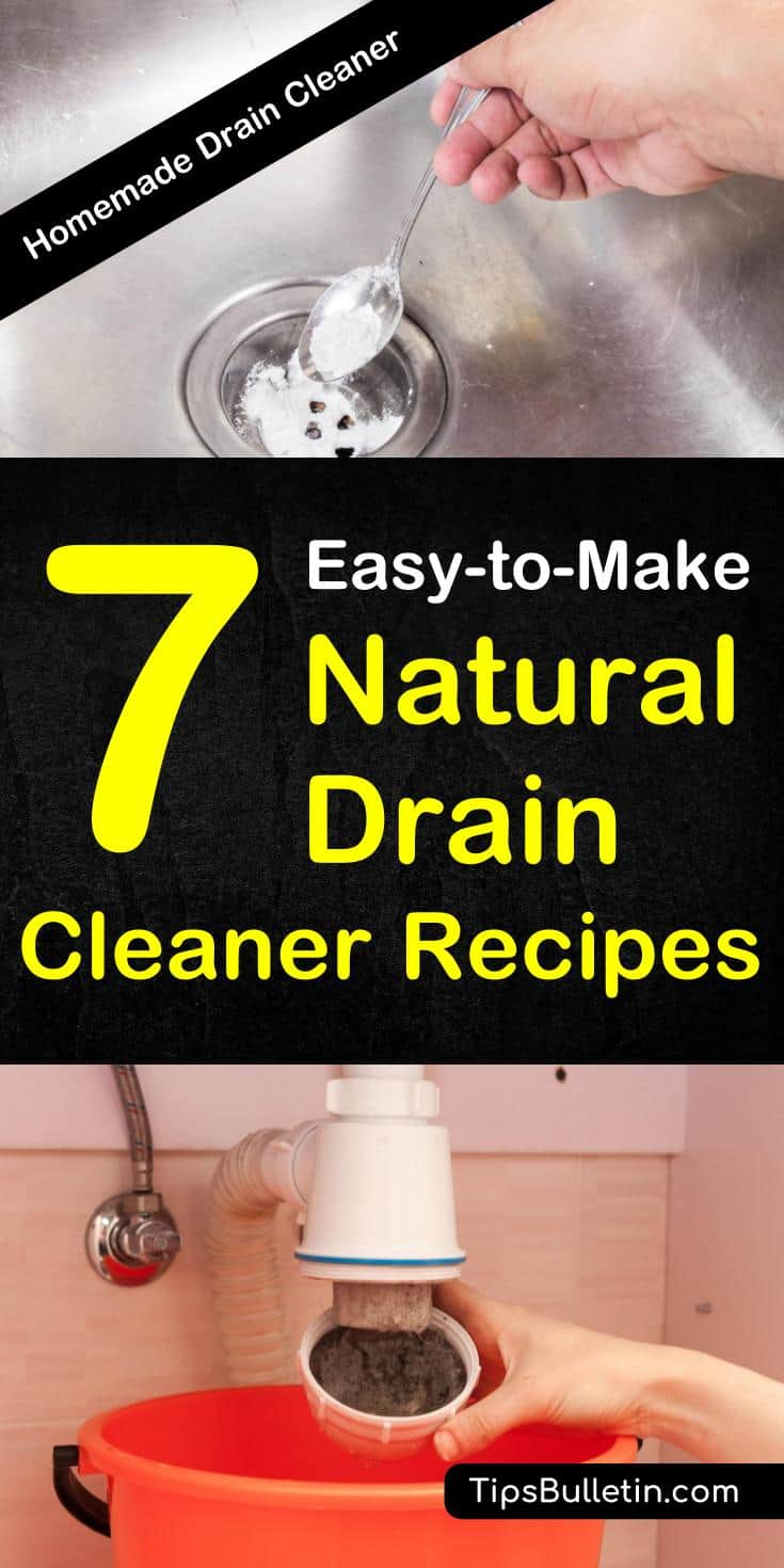 How to make 7 natural drain cleaner recipes using simple products like white vinegar and baking soda. Discover easy DIY tips for removing clogs from bathroom sinks and kitchen pipes. These homemade drain cleaners will get your water flowing again. #drain #naturalcleaning #draincleaner