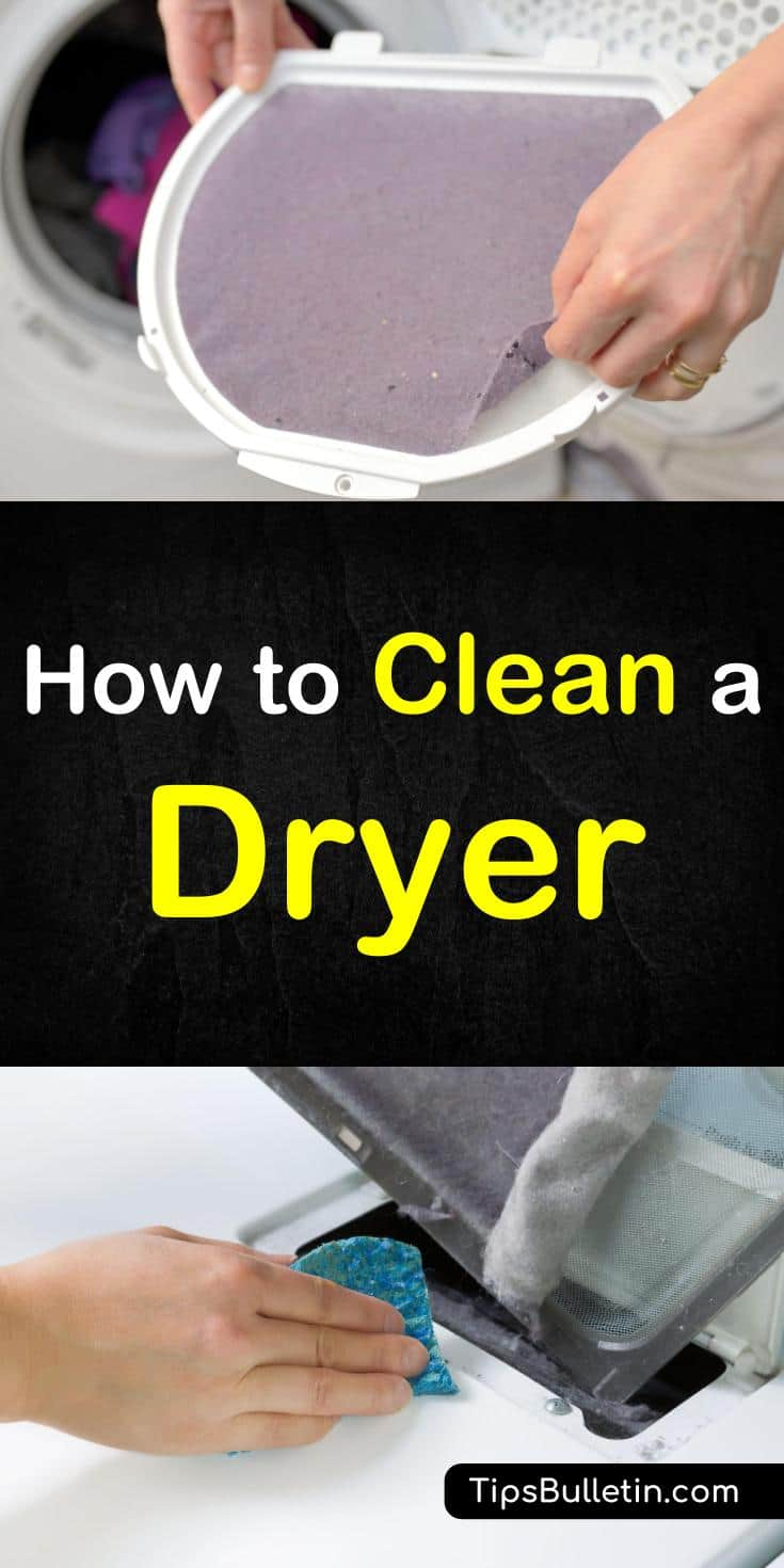 Find out how to clean a dryer with these simple tips. Learn how to clean the drum, vent, and lint trap with everyday products like baking soda, white vinegar, and essential oils. Having a clean washing machine will result in cleaner laundry and less static clean. #cleandryer #dryer #laundry
