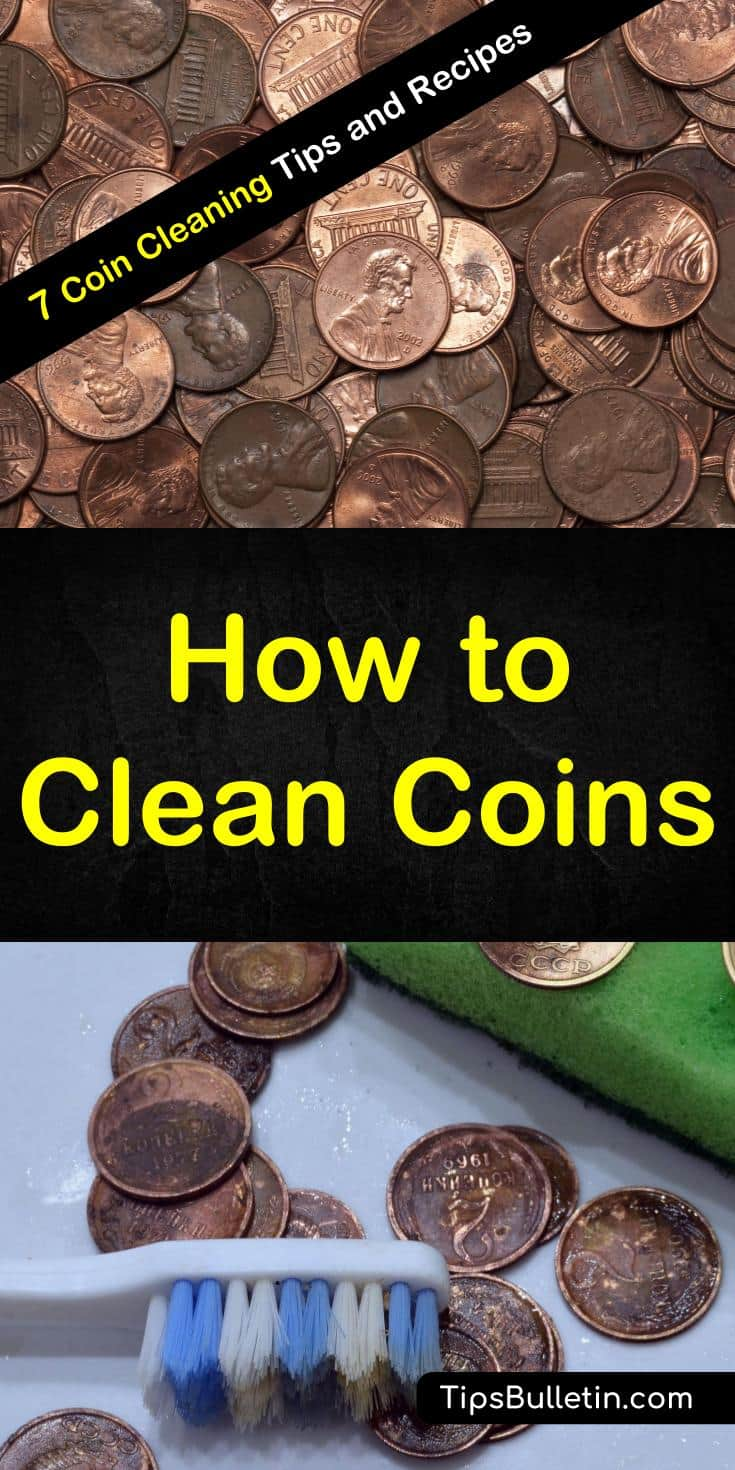 Find out how to clean coins with vinegar and other simple products like baking soda. These DIY solutions will get your silver, like quarters and pennies a new lease on life. Learn how to remove dirt and gunk from all your coins with these fun and easy techniques. #cleancoins #coincleaning