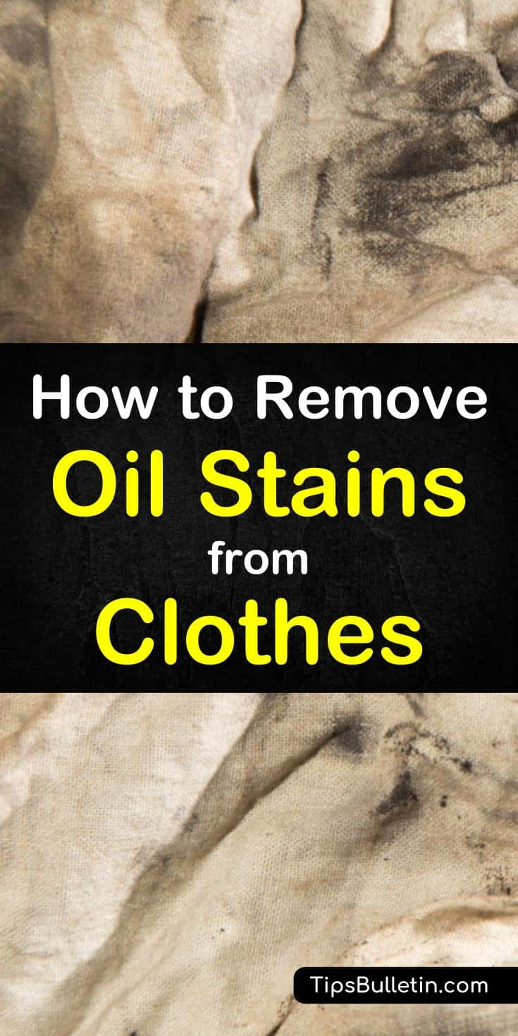 Learn how to remove oil stains from clothes with these simple DIY cleaning techniques. Using simple, everyday products, like baking soda, rubbing alcohol, and vinegar, you can remove oil stains from your shirts and other fabrics. #getoilout #removeoilstains #cleanoistainsfromclothes