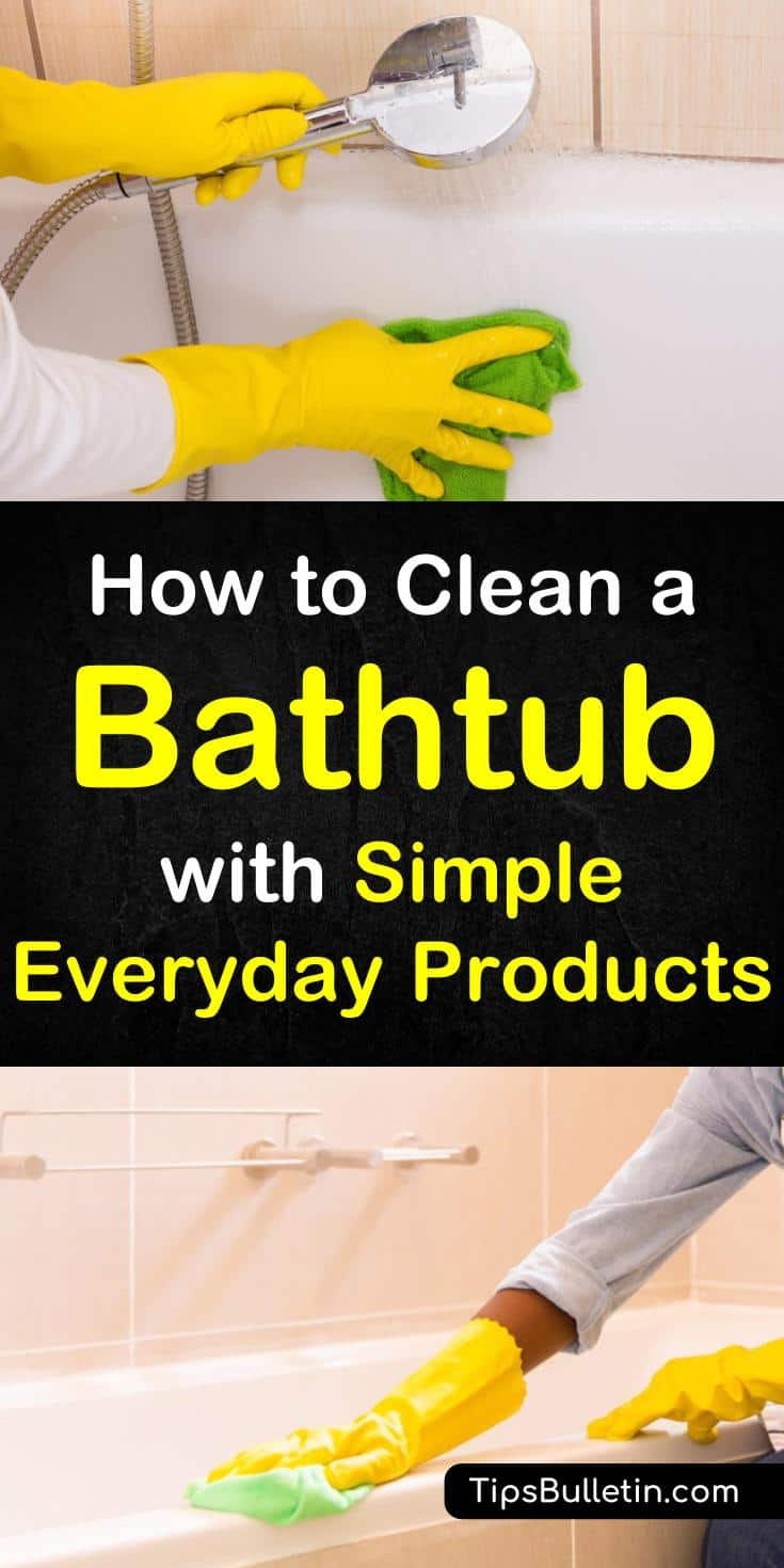 Tips and tricks on how to clean a bathtub with simple products like baking soda and vinegar. Eliminate stains without scrubbing by cleaning your tub with borax. Learn how to make a bathtub cleaner with vinegar and remove soap scum with baking soda. #cleanbathtub #soapscum #bathtub #cleaning