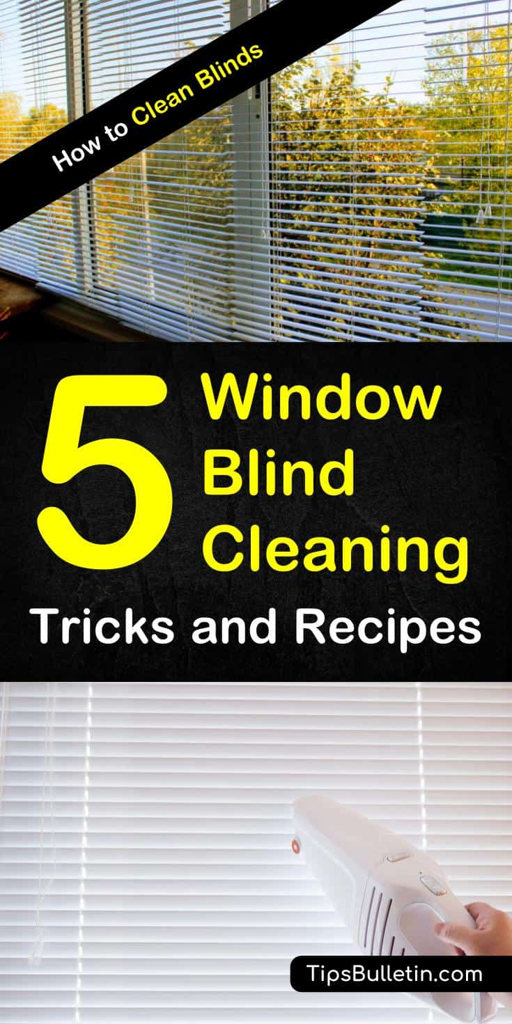 Discover how to clean blinds using simple techniques and everyday products, without taking them down. Whether you're cleaning horizontal or vertical blinds, or fabric or vinyls, use these easy techniques to clean all the blinds in your home. #cleanblinds #verticalblinds #woodblinds #fabricblinds