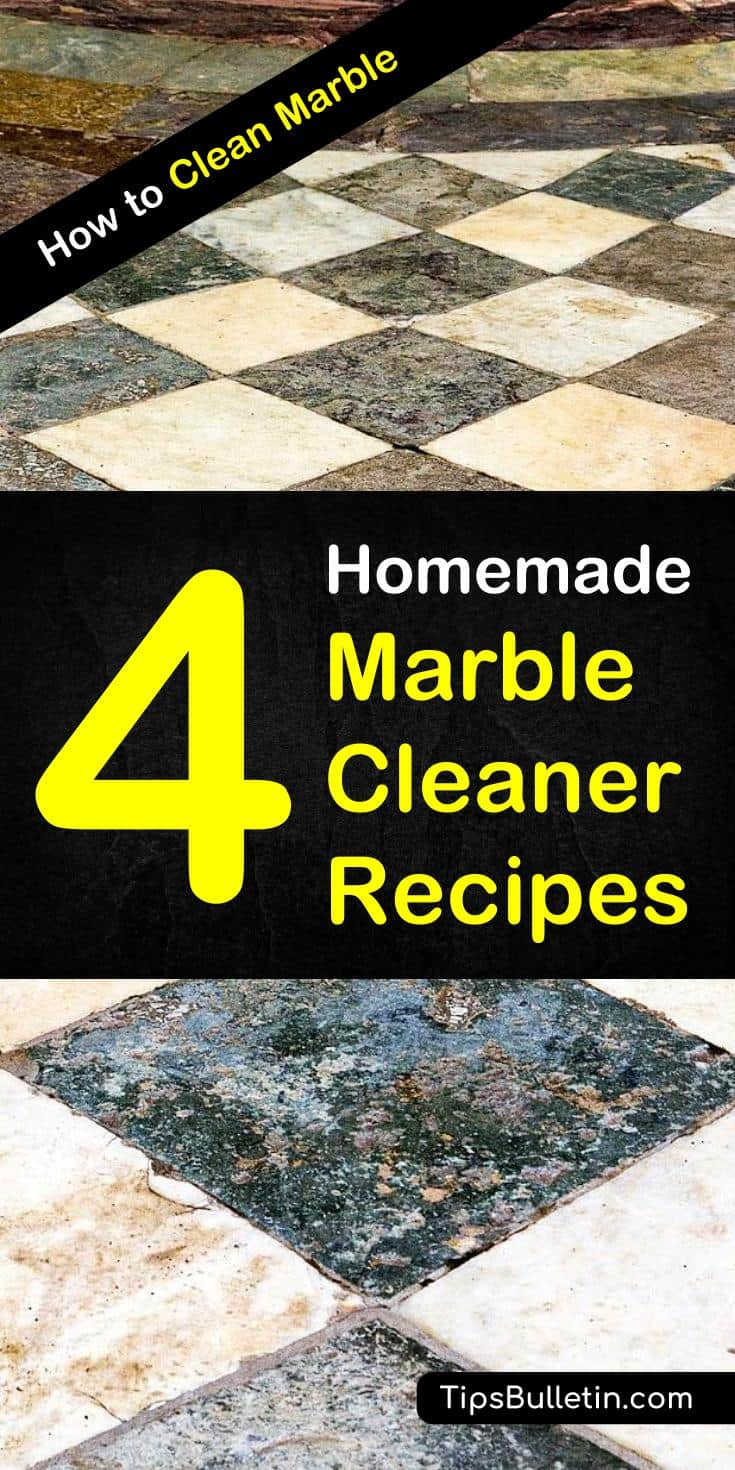Discover the secrets to how to clean marble using a simple homemade marble cleaner. Get your table, countertops, floors, and sink clean with inexpensive DIY ingredients like baking soda, and ammonia. Learn how to remove stains from all the marble surfaces in your home. #cleanmarble #marble #clean