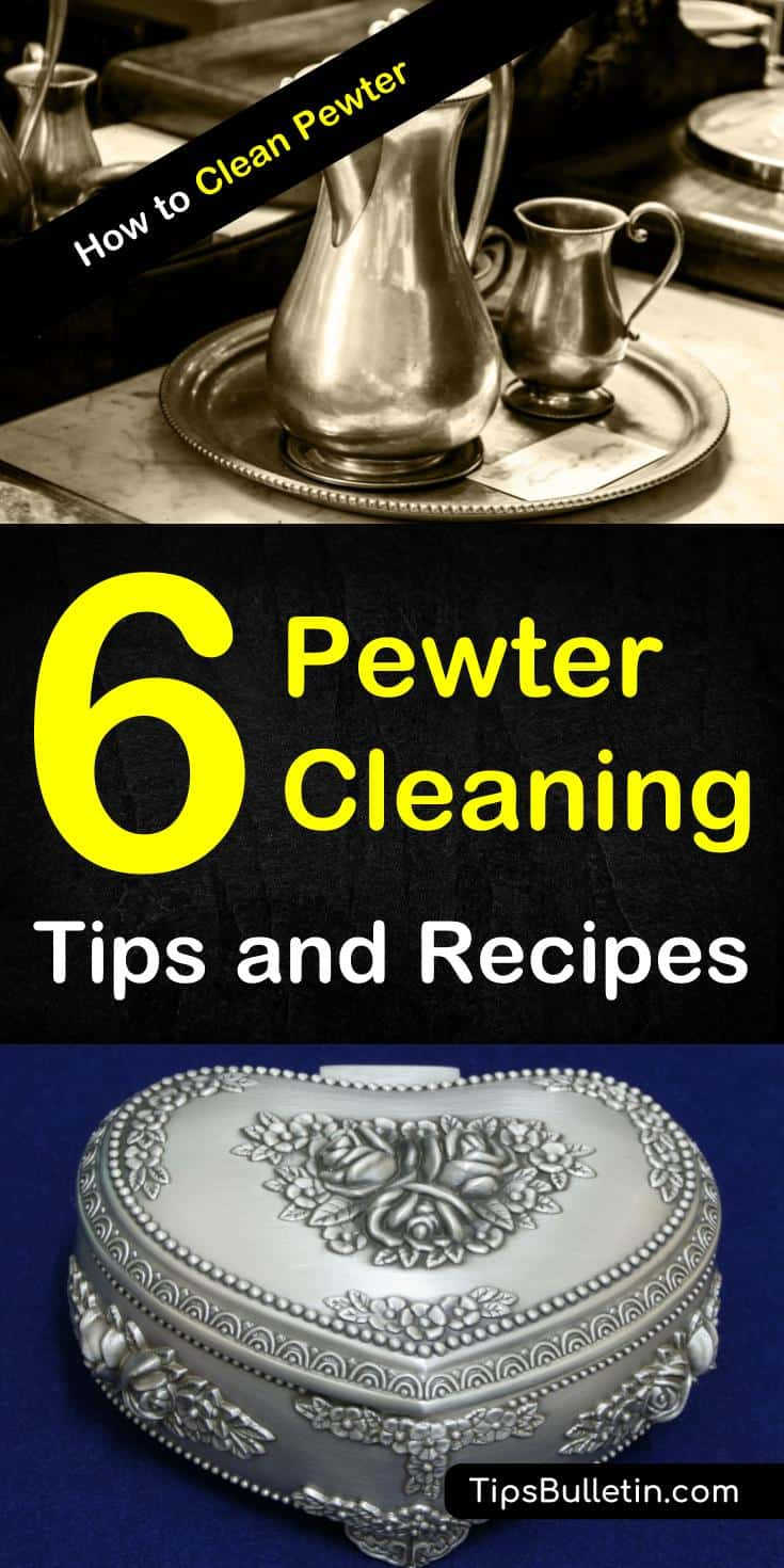 Discover the secrets for how to clean pewter. You can clean your pewter jewelry, plates, and tray using inexpensive products in your home. Learn how to use vinegar to create a DIY pewter polish and keep your pewter looking beautiful. #pewter #cleanpewter #pewterpolish #pewterjewelry