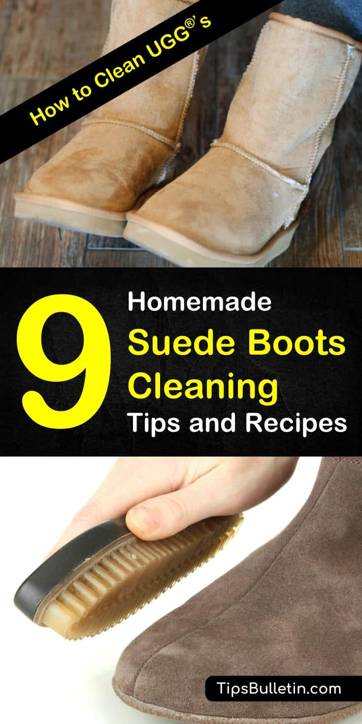 Tips and tricks for how to clean UGGs at home with simple, budget friendly products. Learn how to remove stains with vinegar and eliminate odor with baking soda. These awesome DIY life hacks will keep your boots looking new. #uggs #cleansuede #boots #cleanuggboots