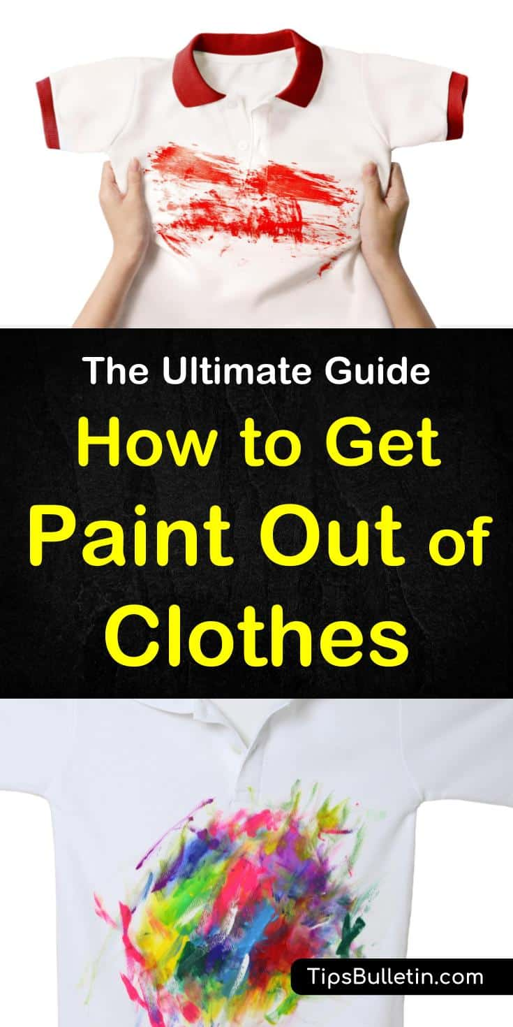 Discover the secrets of how to get paint out of clothes with simple techniques and everyday products. These simple methods for removing paint stains from shirts and other fabrics use products like rubbing alcohol and nail polish remover. #removepaint #removelatexpaint #paintclothes #laundry