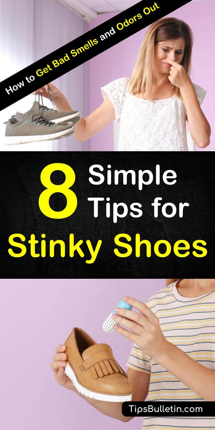 Discover how to get rid of smelly shoes with these simple life hacks. Use natural products like baking soda, alcohol, essential oils and vinegar to eliminate foot odor overnight. These awesome home remedies are easy to use. #smellyshoes #smellyfeet #odor