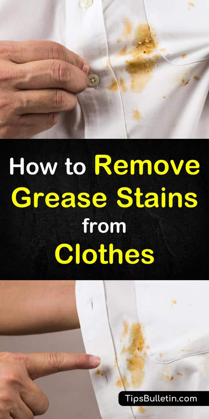 Tips and tricks for how to remove grease stains from clothes. Learn how to use dishwashing liquid and other products to remove oil stains from clothes. These awesome home remedies will show you how to get grease stains out of shirts and other fabrics. #oil #greasestains #laundry #removeoilstains