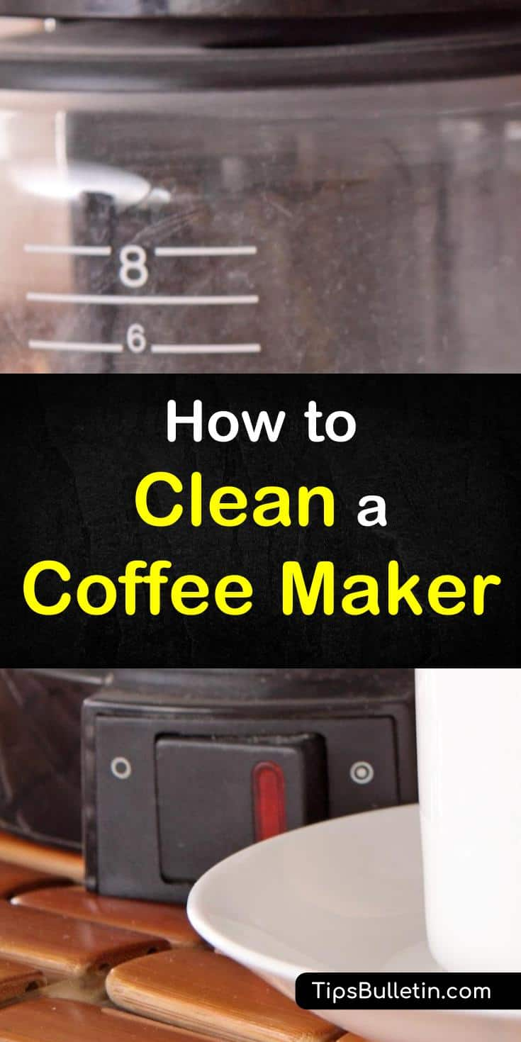 Learn the secrets of how to clean a coffee maker with these simple life hacks. Learn how to clean the machine with vinegar and how to remove stains from the coffee pot with baking soda. #cleancoffeemaker #cleancoffeepots #descalingcoffeemaker