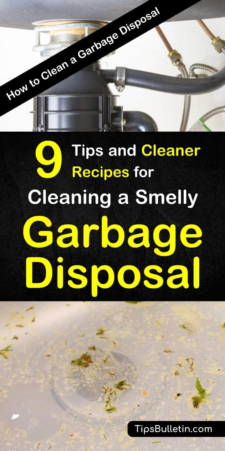 Find out how to clean a garbage disposal with common household products like baking soda and vinegar. Use ice cubes and lemon to clean a smelly disposal and utilize these simple DIY tips and tricks. #smellydisposal #cleangarbagedisposal #garbagedisposal #odors