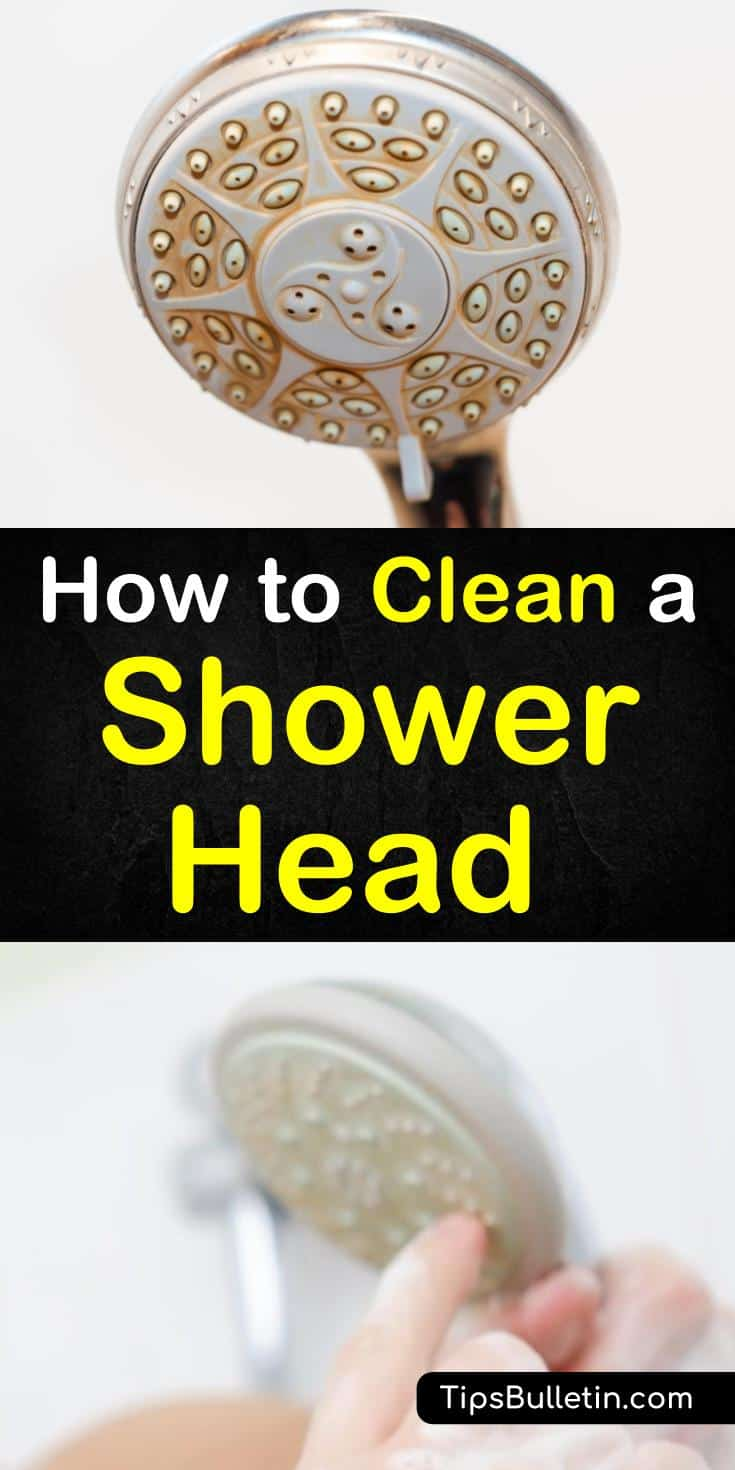 Discover how to clean a shower head and remove mineral deposits from hard water and soap scum. Learn how to make a simple cleaning solution of vinegar and baking soda that will get your showerhead performing properly again. #cleanshowerhead #cleanshower #showerheadcleaning #cleanbathroom