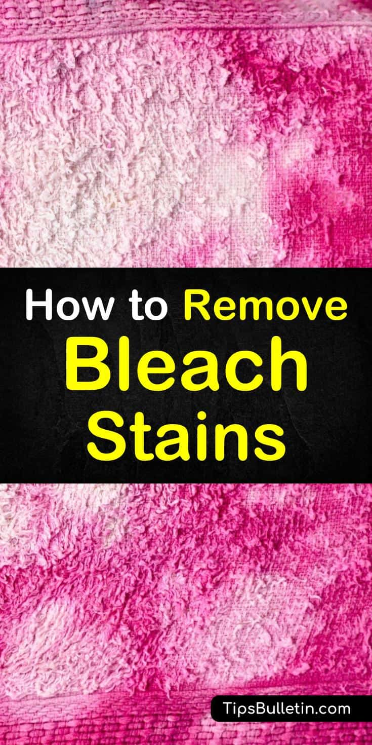 Discover how to remove bleach stains from clothes using these simple cleaning tips and tricks. Use vinegar to remove bleach stains from shoes, and baking soda to remove stains from carpet. Learn how to get bleach stains out of all kinds of fabrics using everyday products. #getbleachout #removebleach