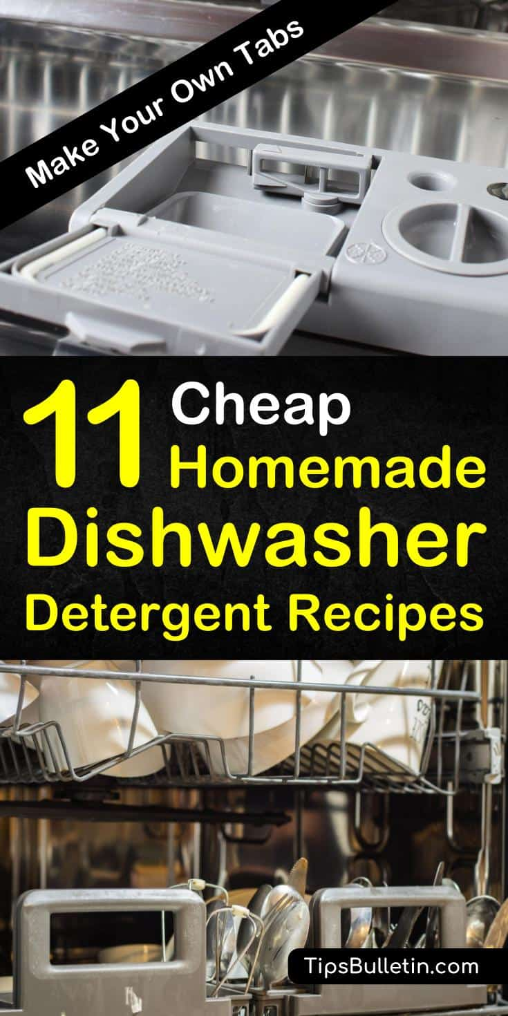 Learn how to make natural homemade dishwasher detergent in powder, liquid, and tablets. These recipes soften hard water with essential oils, vinegar, and citric acid. #dishwasher #diy #diydetergent #kitchen #cleaning
