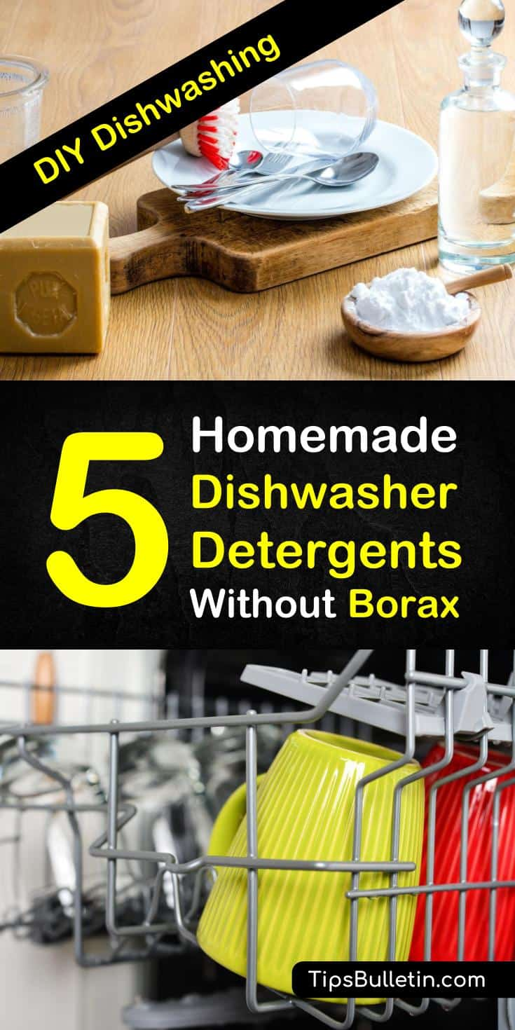 Keep your dishes clean - learn how to make detergents for soft and hard water with vinegar, castile soap, essential oils, fels naptha, and baking soda in place of borax. Safe for dishwashers and laundry! Try five recipes for homemade dishwasher detergent without borax: #dishwashing #borax #homemade